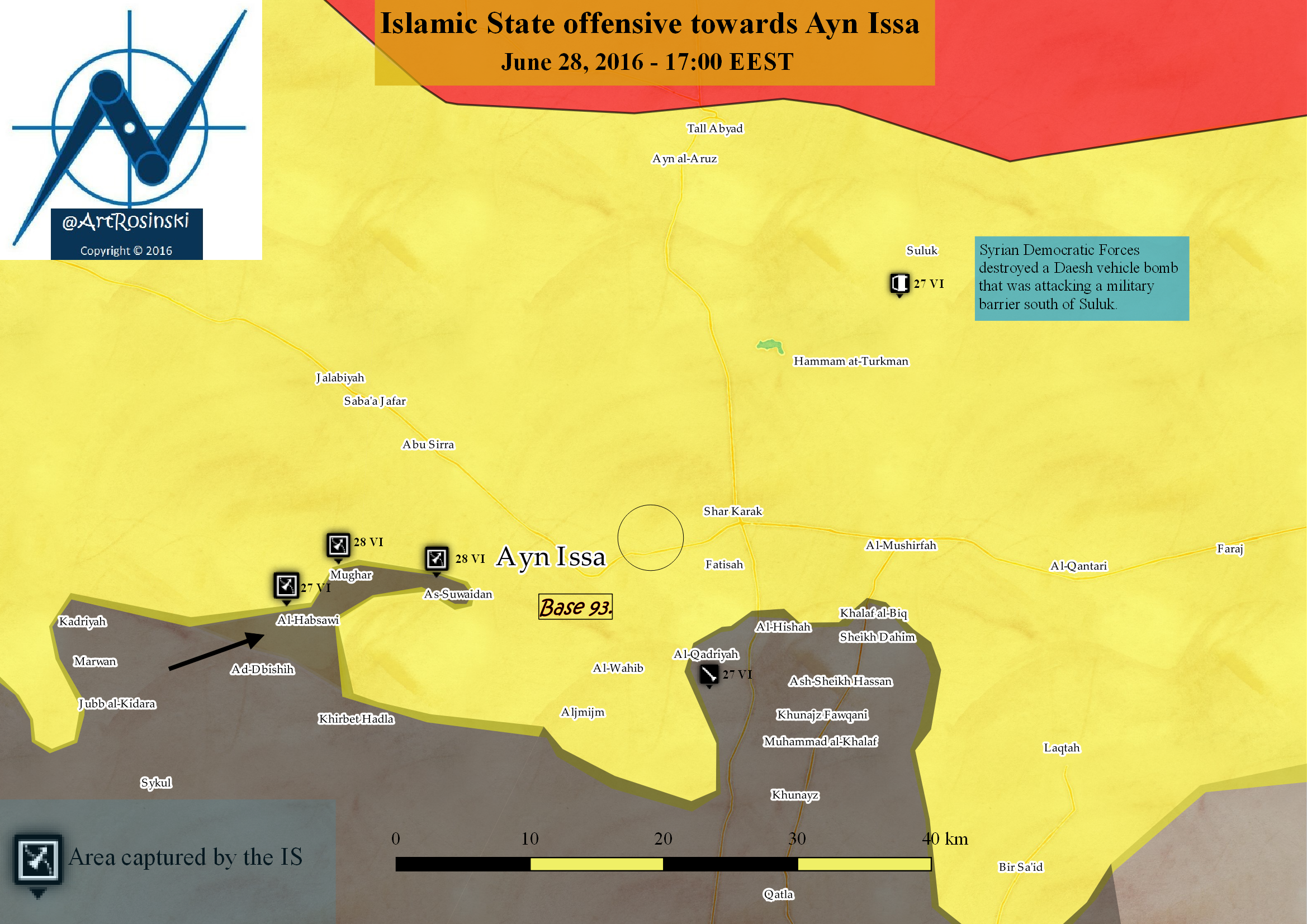 Islamic State offensive towards Ayn Issa (28 VI)