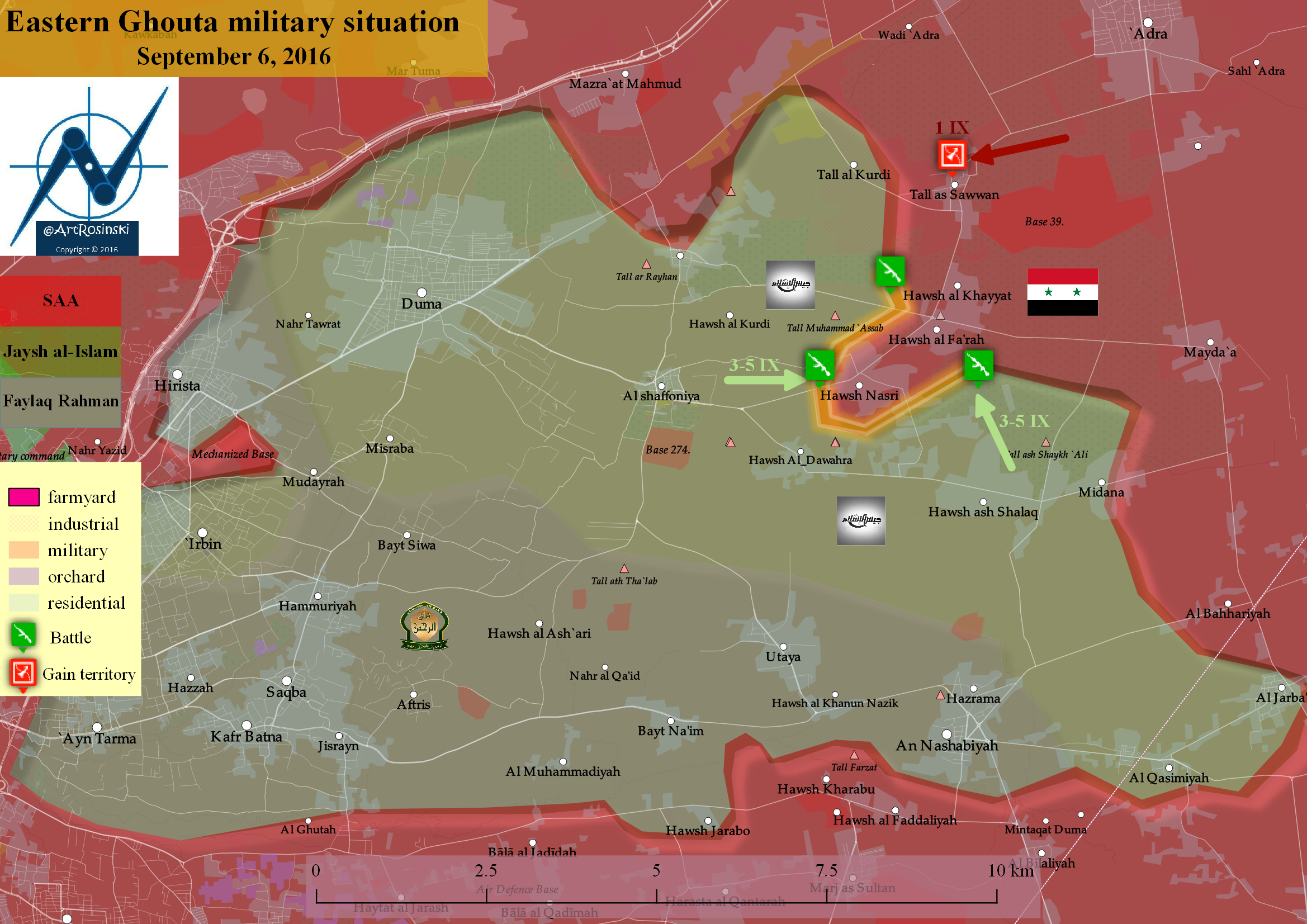 Eastern Ghouta military situation (6 VIII 2016)