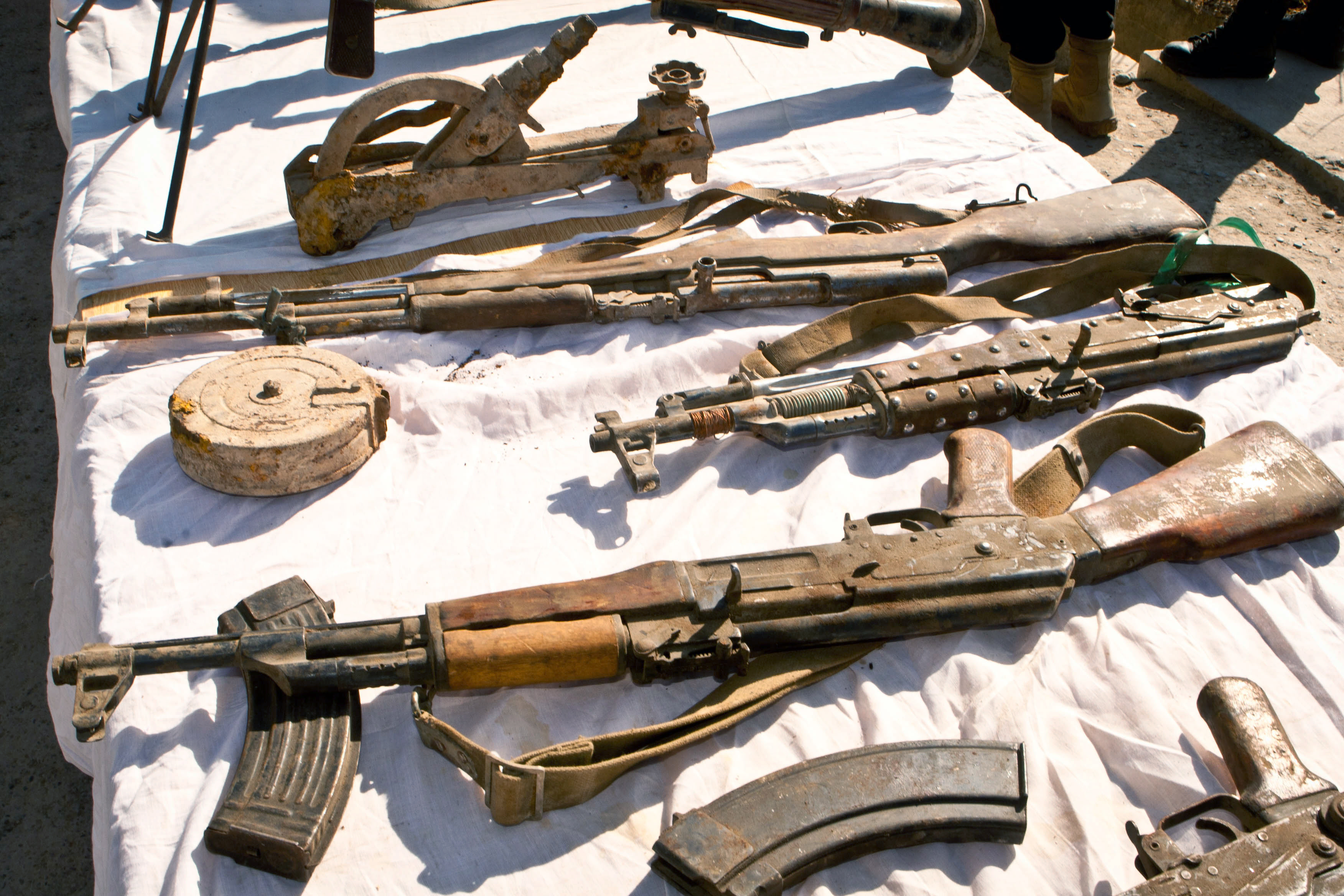Weapons captured during a counterinsurgency operation in Afghanistan. Elite patrolmen from Helmand's Provincial Response Company (PRC) uncovered the large haul of weapons and drugs in two separate operations over a 48-hour period. The PRC deployed on two separate operations in Helmand Province following credible intelligence, to search suspect compounds and uncover significant finds of weapons and drugs.