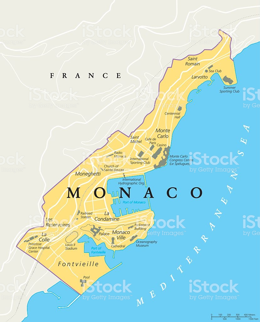Monaco political map. City state in on the French Riviera, France, with national borders, important buildings and sights. English labeling and scaling. Illustration. Illustration.