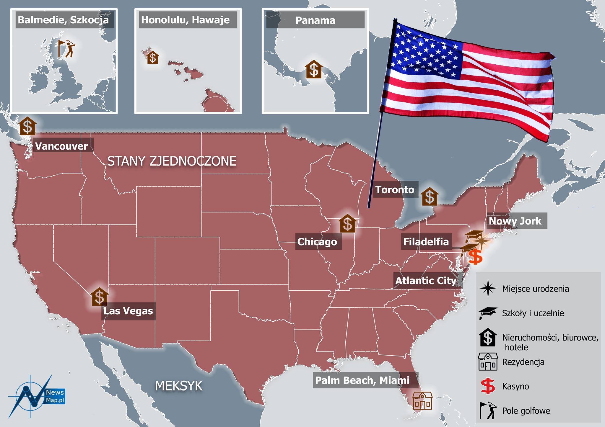 trump mapa infografika USA