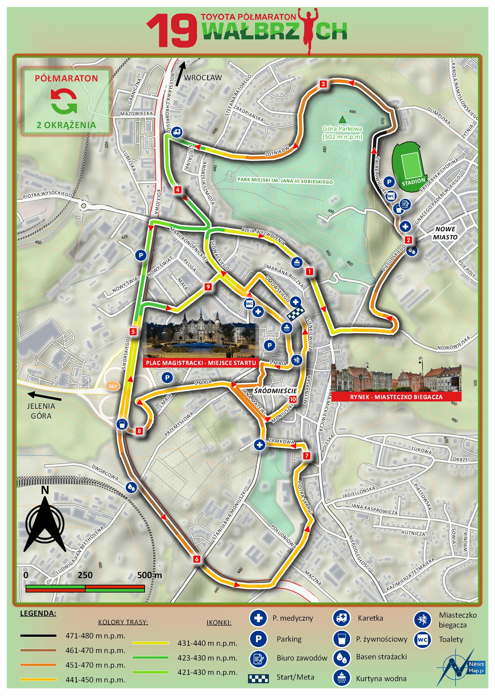 19. Półmaraton Wałbrzych - mapa statyczna