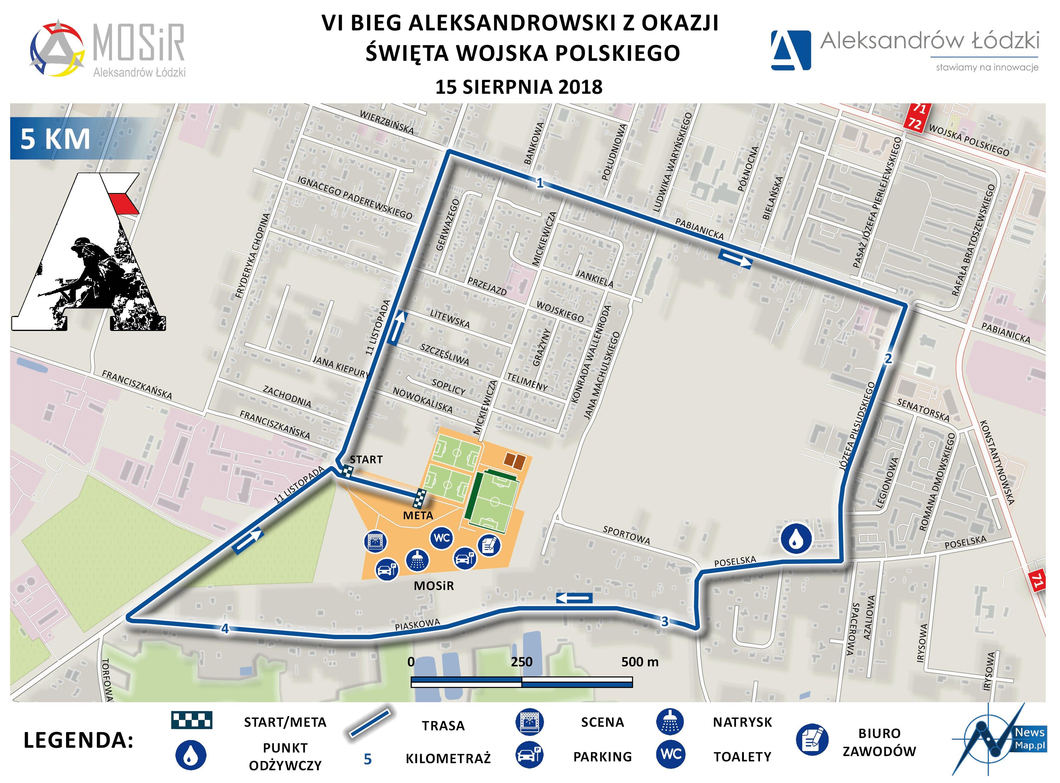 Bieg Aleksandrowski 2018 - 5 km - mapa statyczna (druk)-CMYK