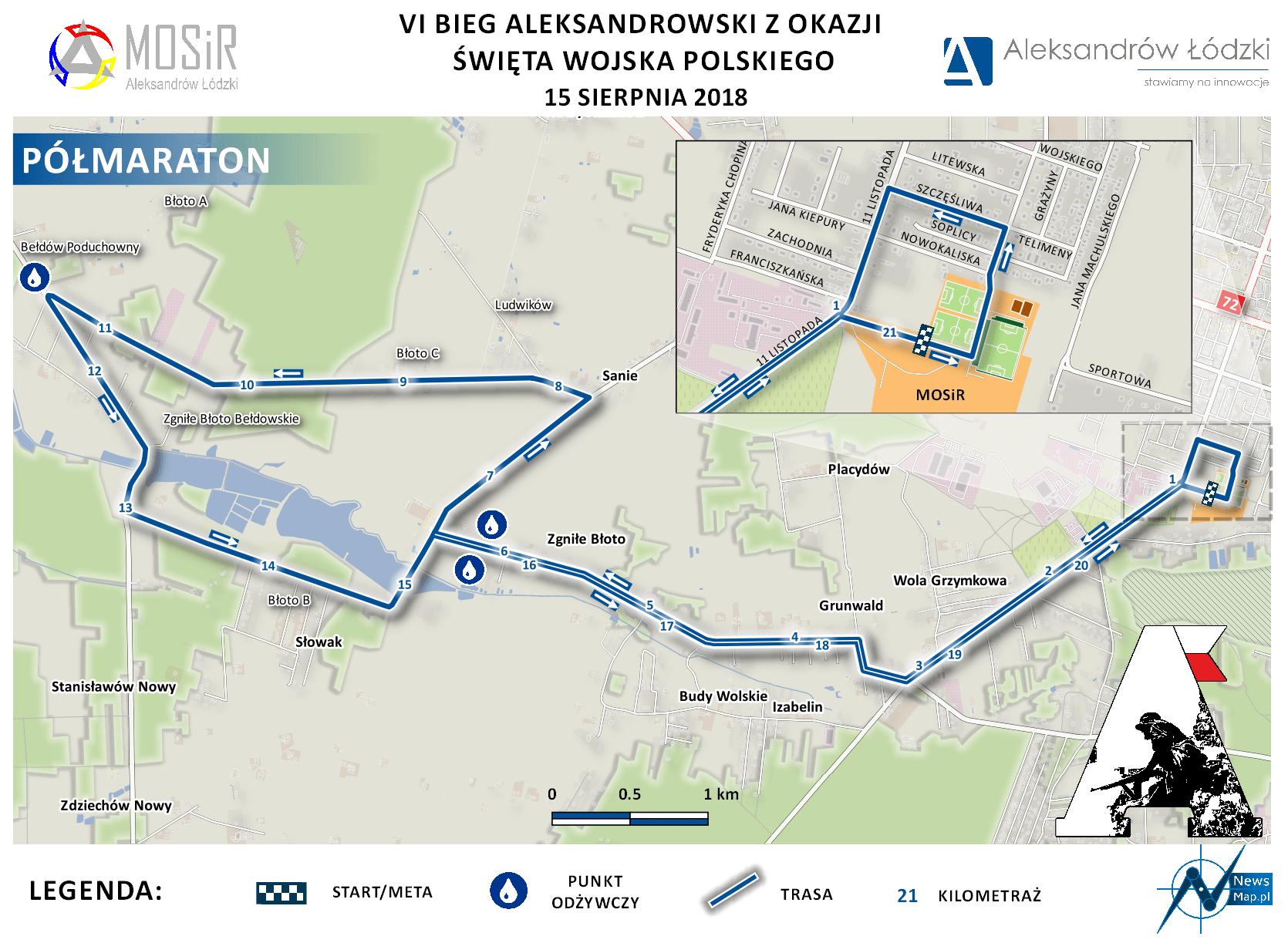 Bieg Aleksandrowski 2018 - półmaraton - mapa statyczna (on-line)