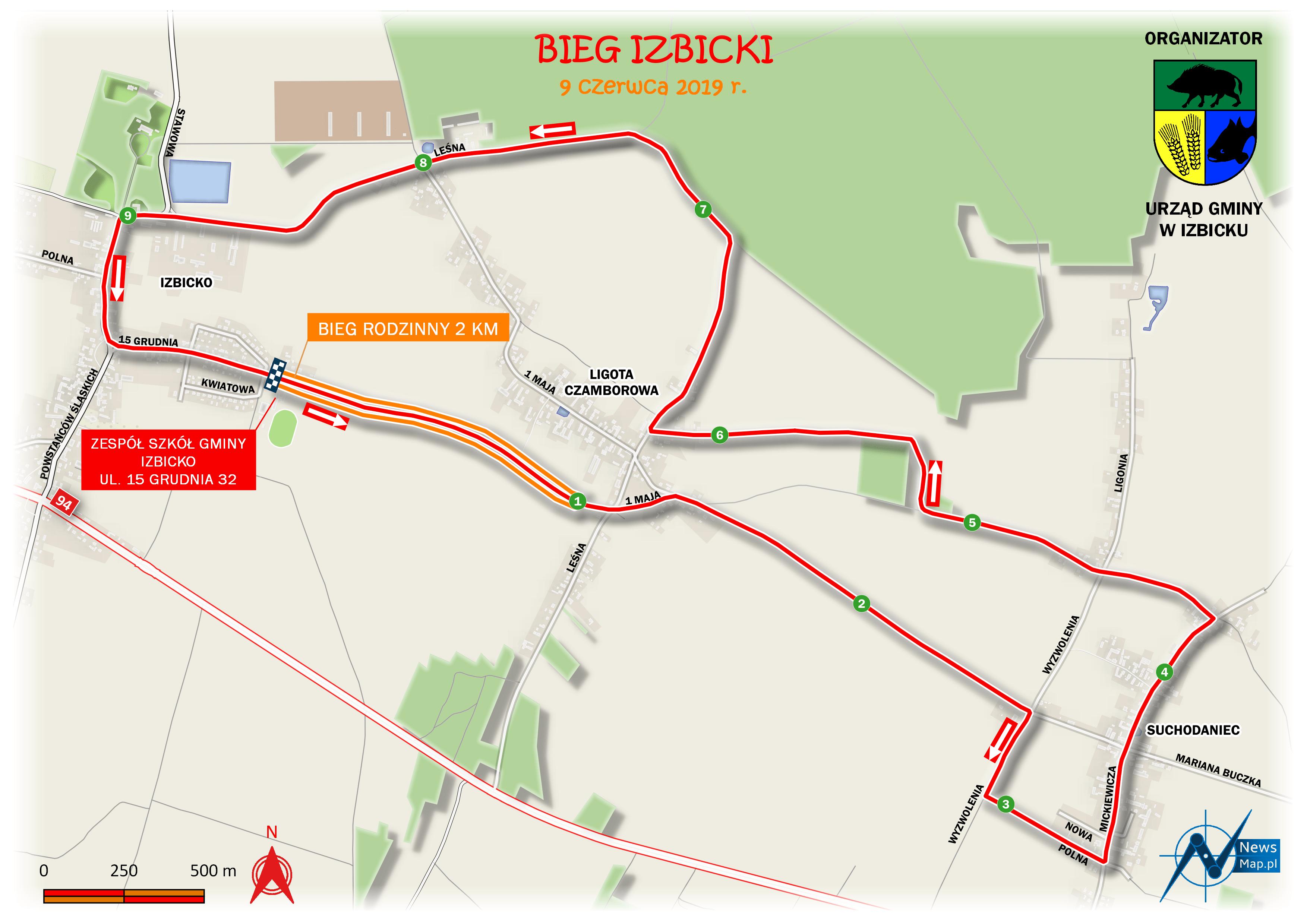 Bieg Izbicki - mapa statyczna