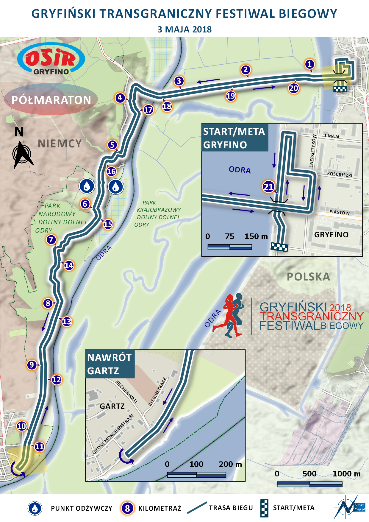 Bieg Transgraniczny 21 km - mapa statyczna