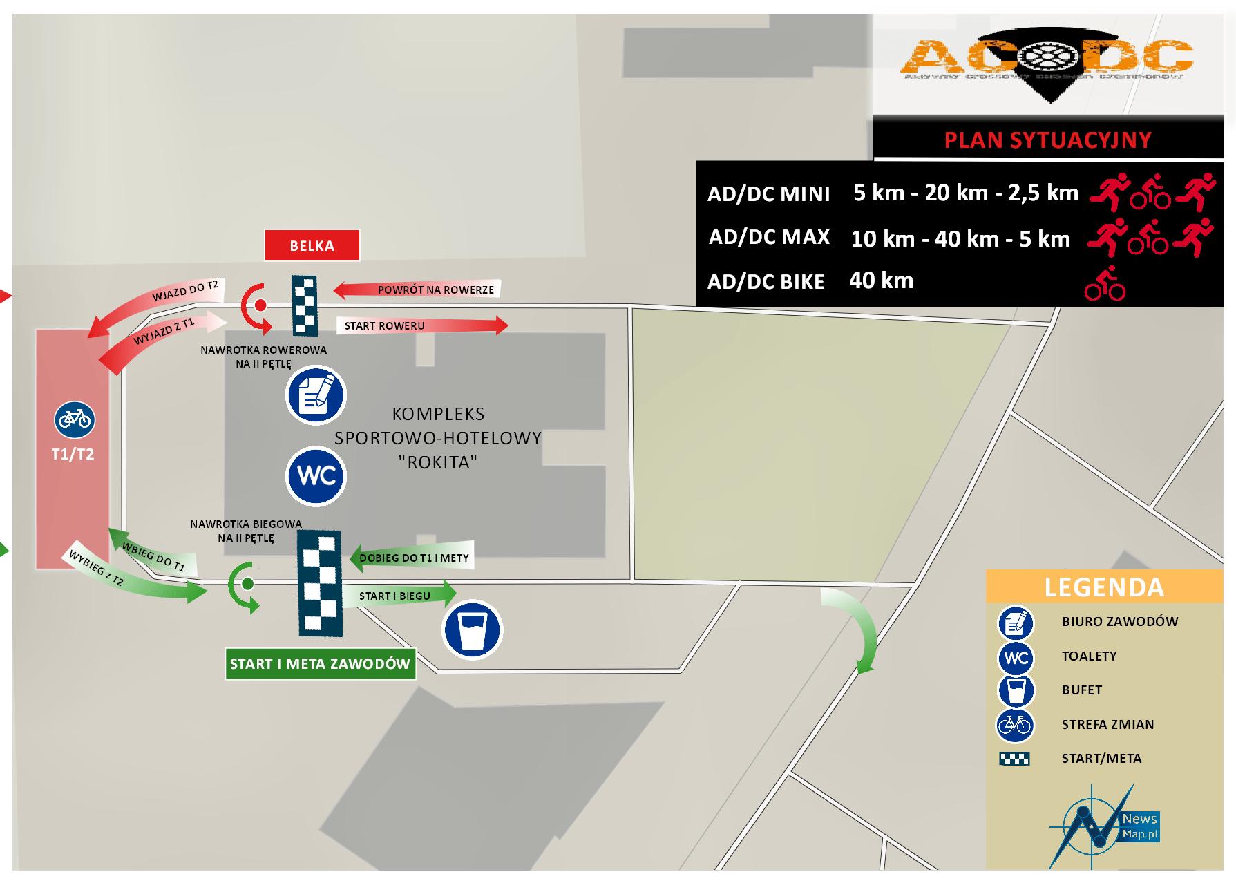 Duathlon AD;DC - plan sytuacyjny (mapa on-line)