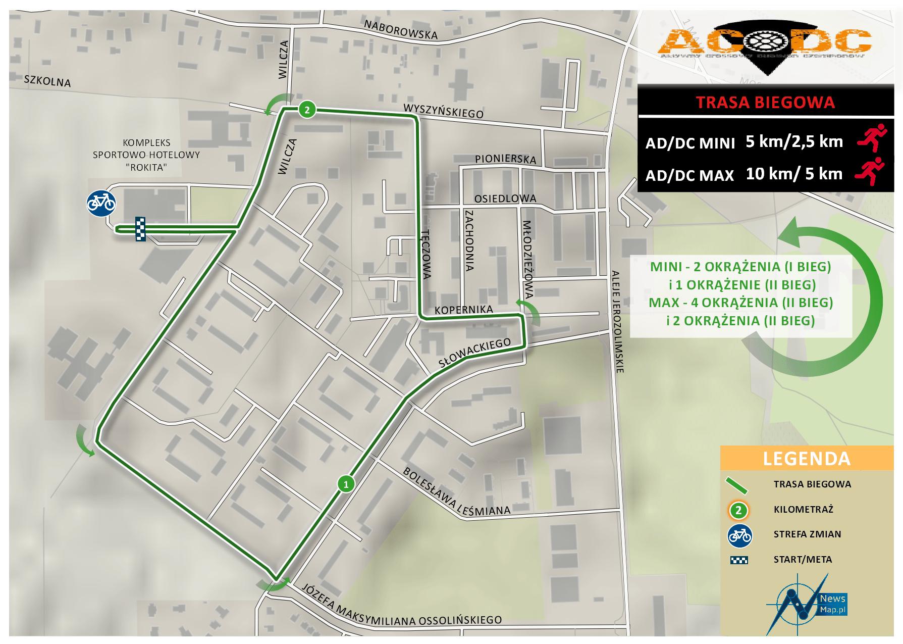 Duathlon AD;DC - trasa biegowa (mapa on-line)