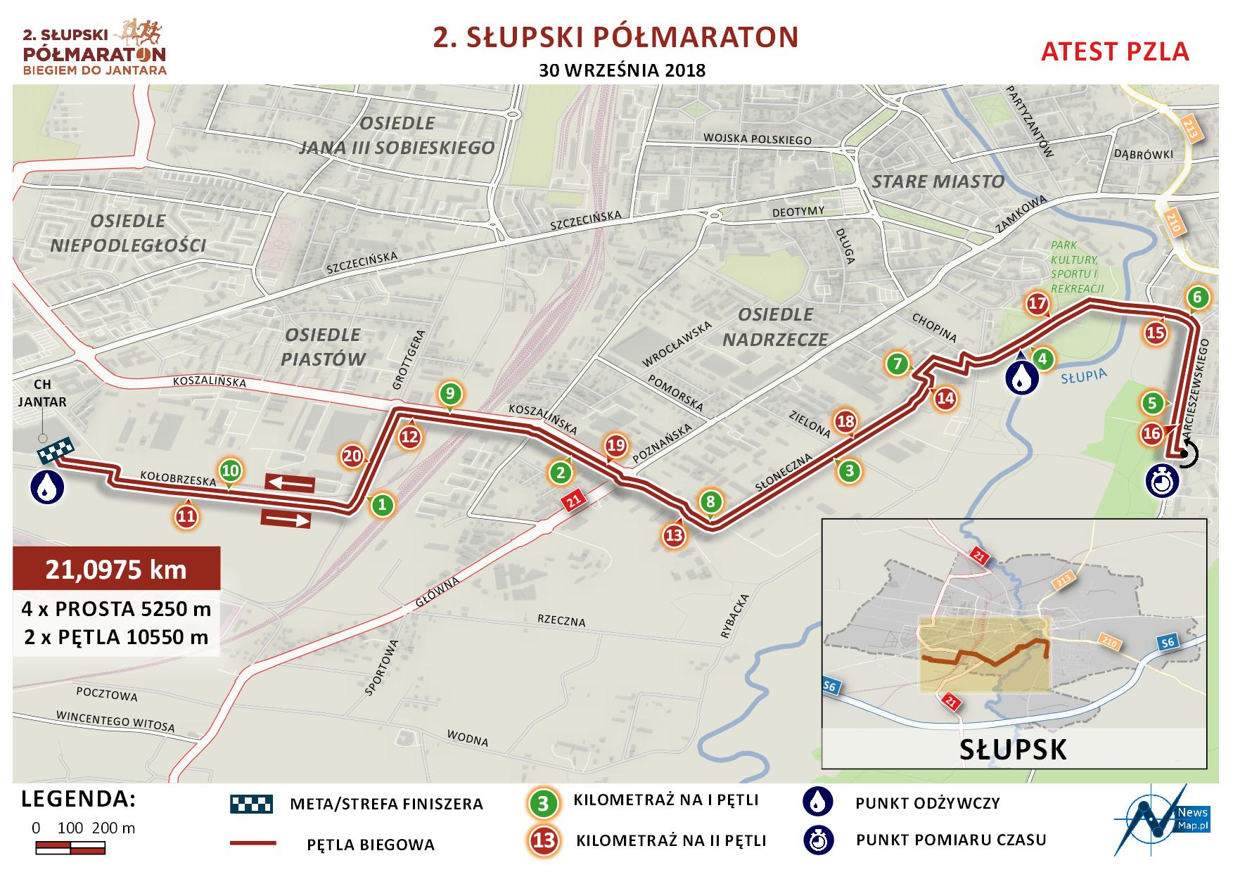Mapa statyczna 2. Słupski Półmaraton (on-line)