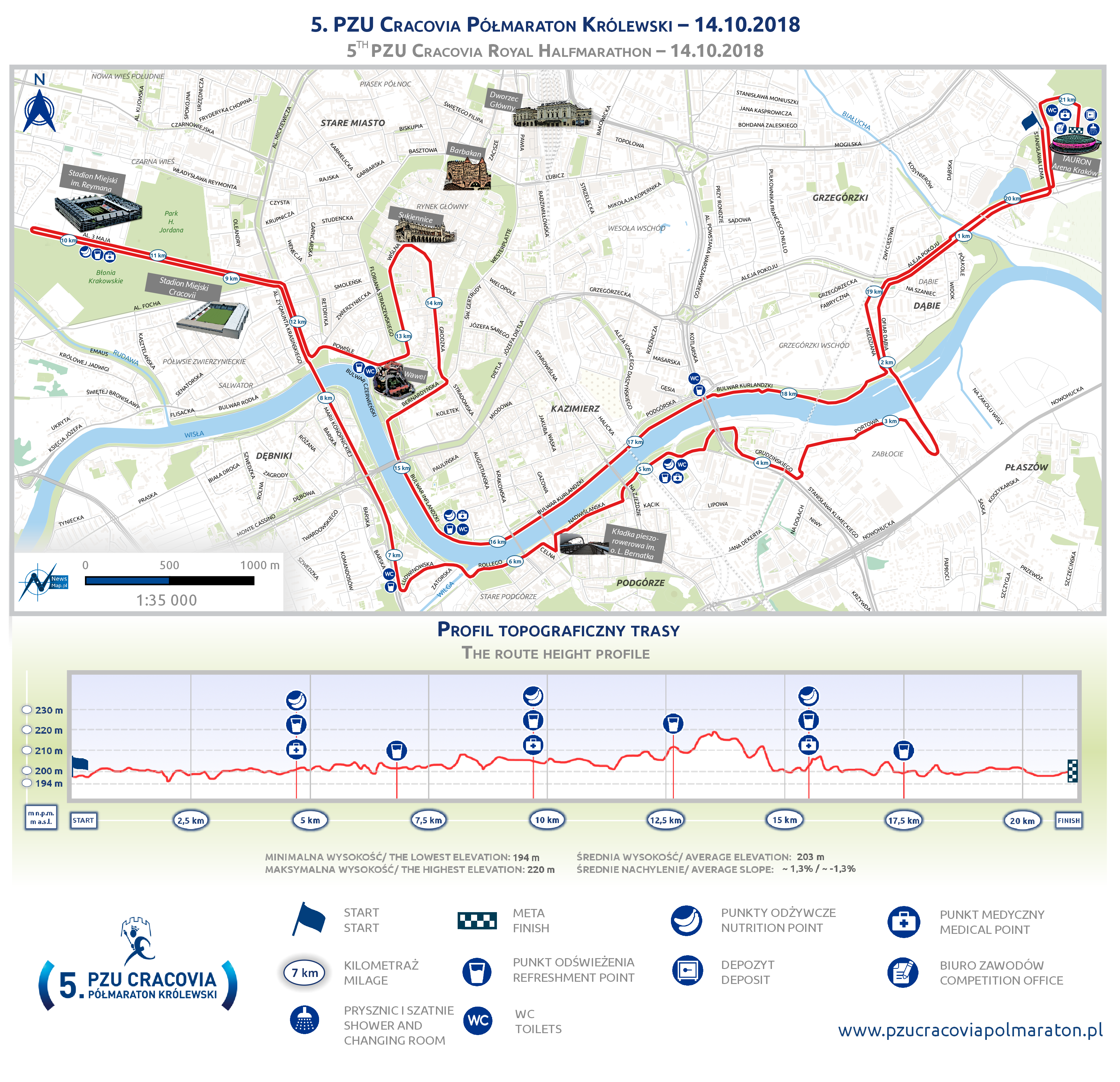 Mapa statyczna 5 PZU Cracovia Półmaraton