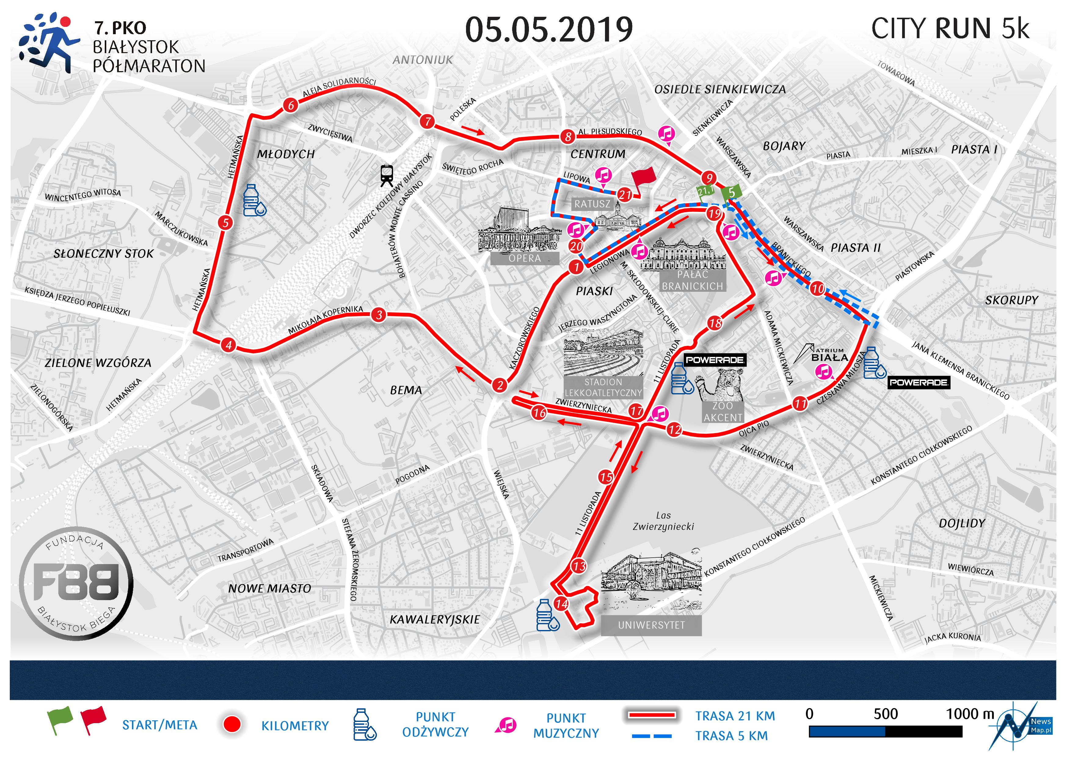 Mapa statyczna 7. PKO Półmaraton Białystok - 21 km + 5 km