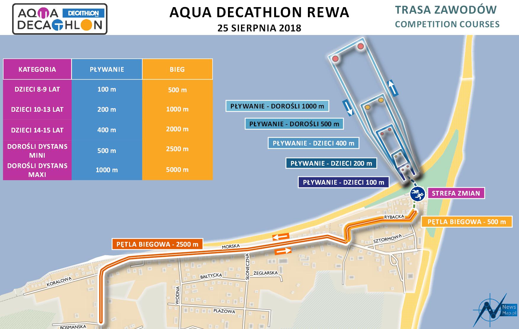 Mapa statyczna AquaDecathlon Rewa 2018 (on-line)