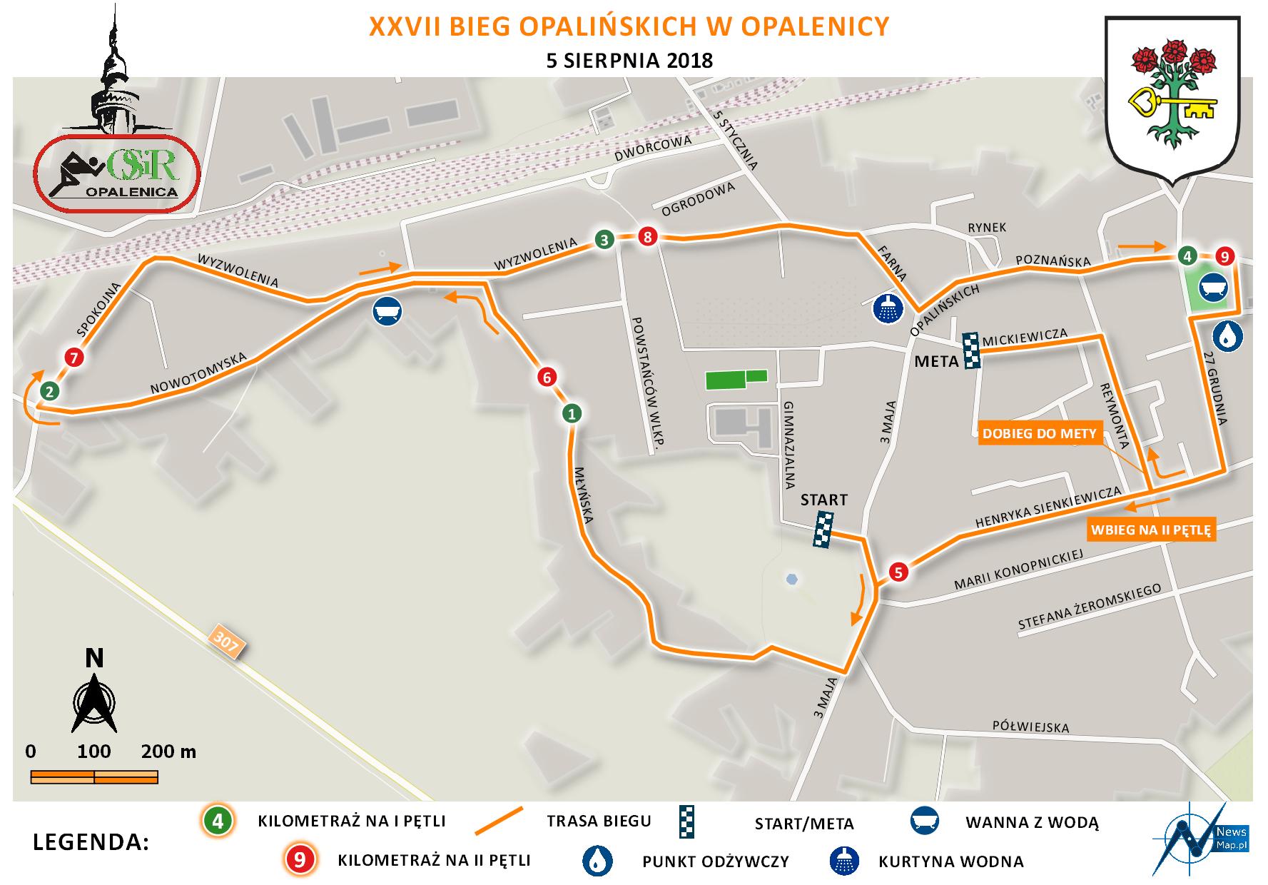 Mapa statyczna Bieg Opalińskich 2018 (on-line)