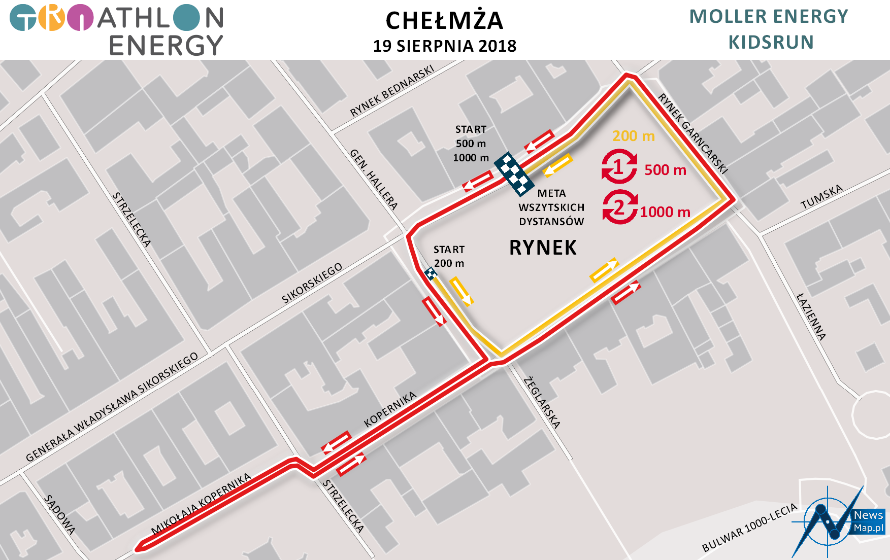 Mapa statyczna Chełmża Energy Triathlon 2018 - Moller Energy KidsRun (on-line)