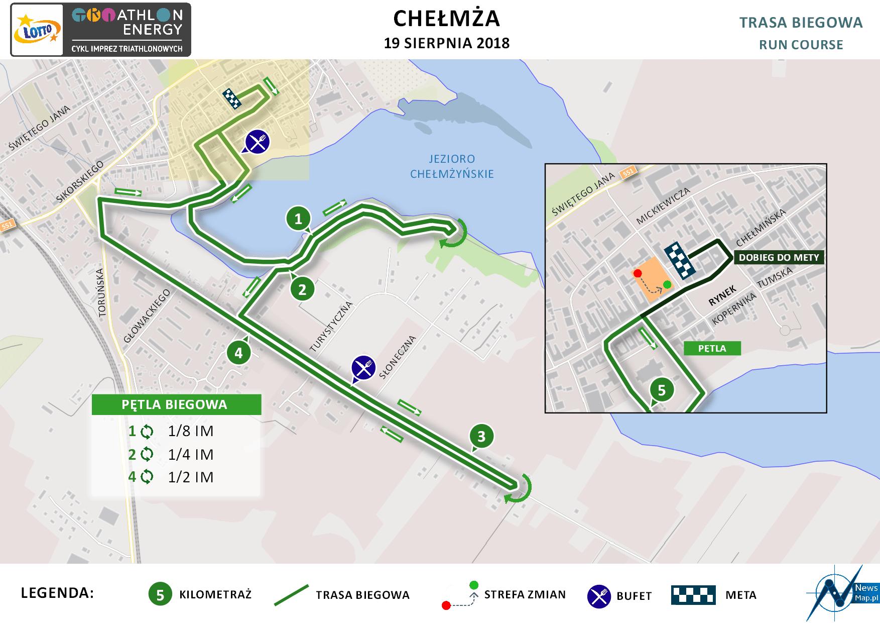 Mapa statyczna Chełmża Energy Triathlon 2018 - bieg