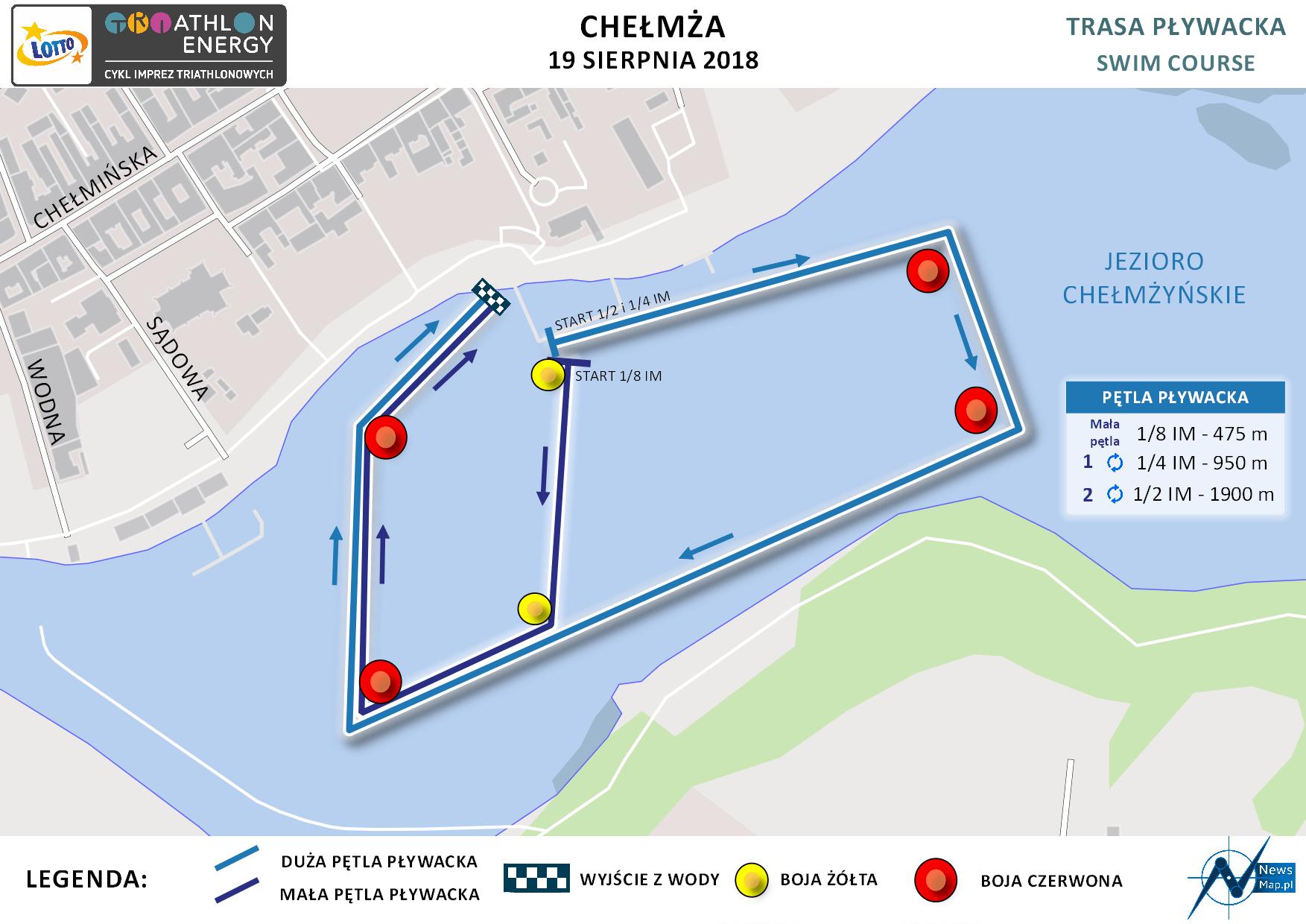 Mapa statyczna Chełmża Energy Triathlon 2018 - pływanie