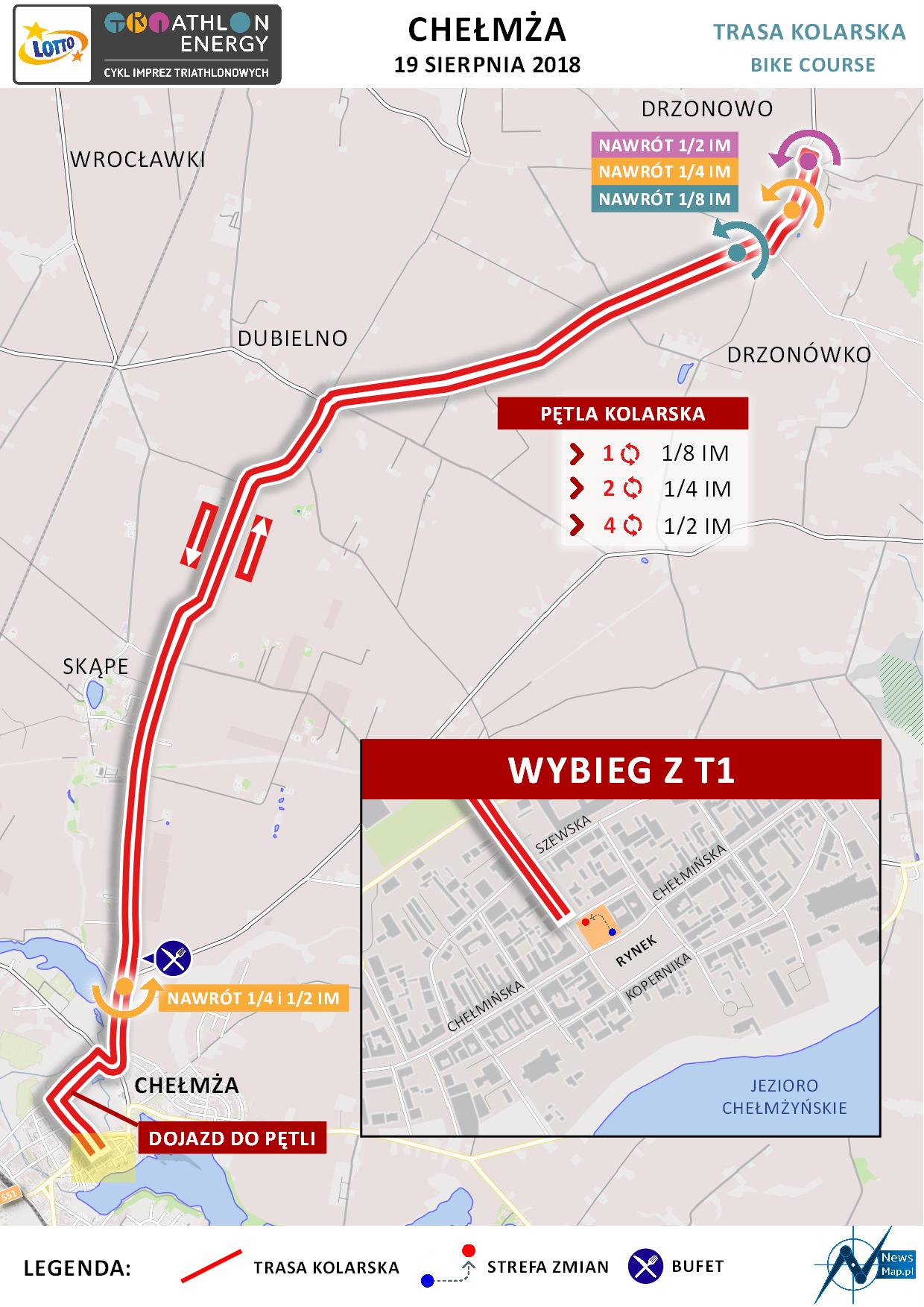 Mapa statyczna Chełmża Energy Triathlon 2018 - rower