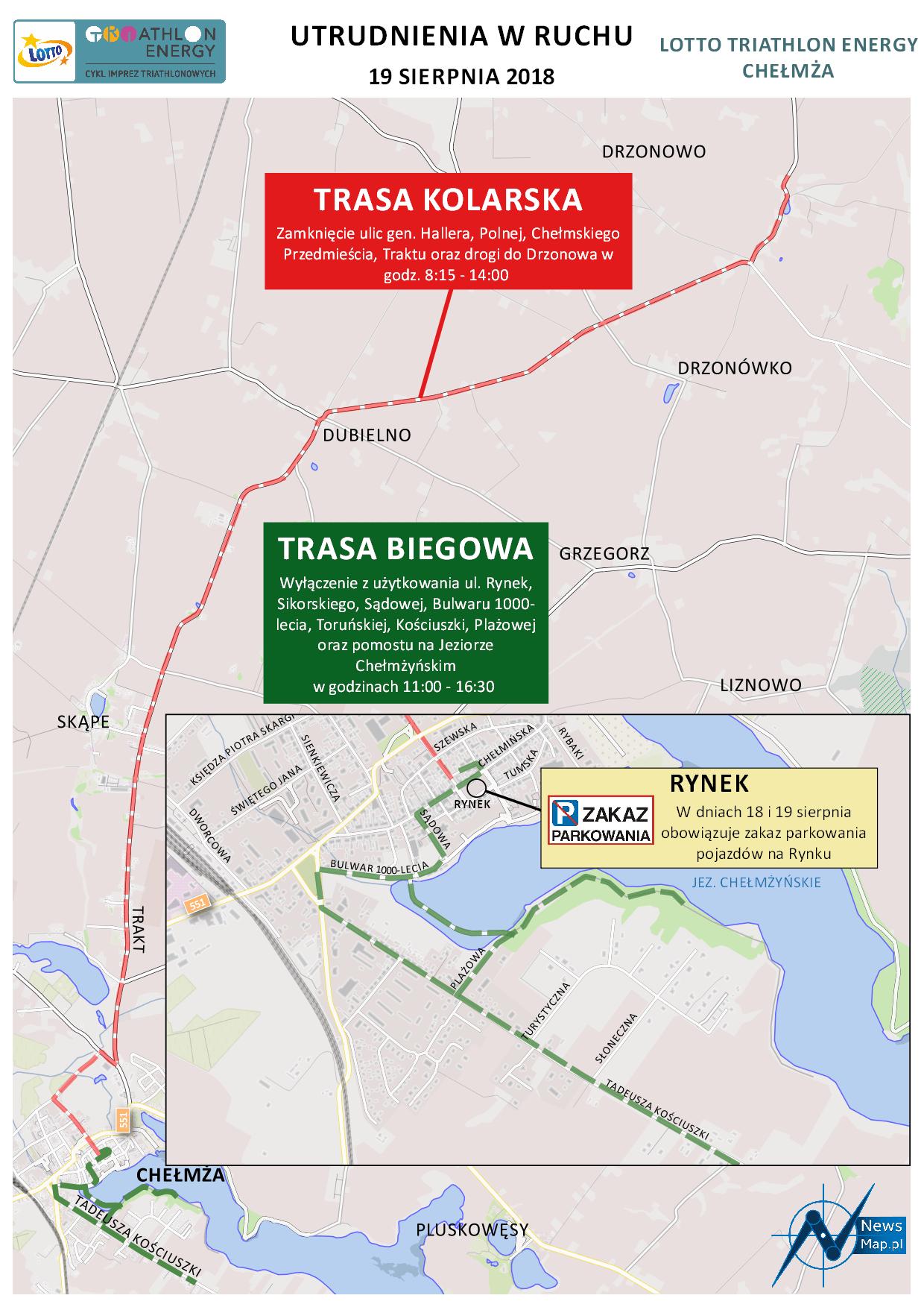 Mapa statyczna Chełmża Energy Triathlon 2018 - utrudnienia