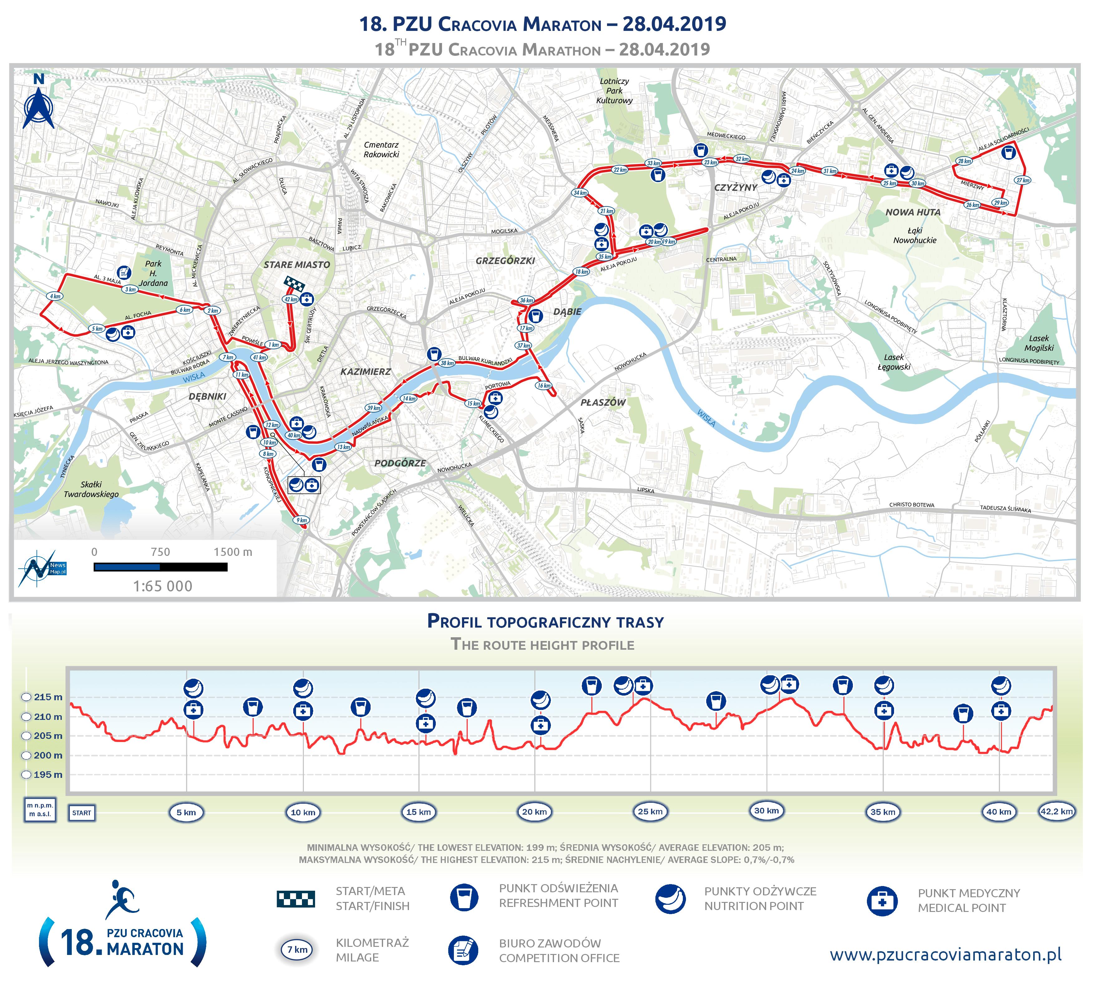 Mapa statyczna Cracovia Maraton 2019 (on-line) - final