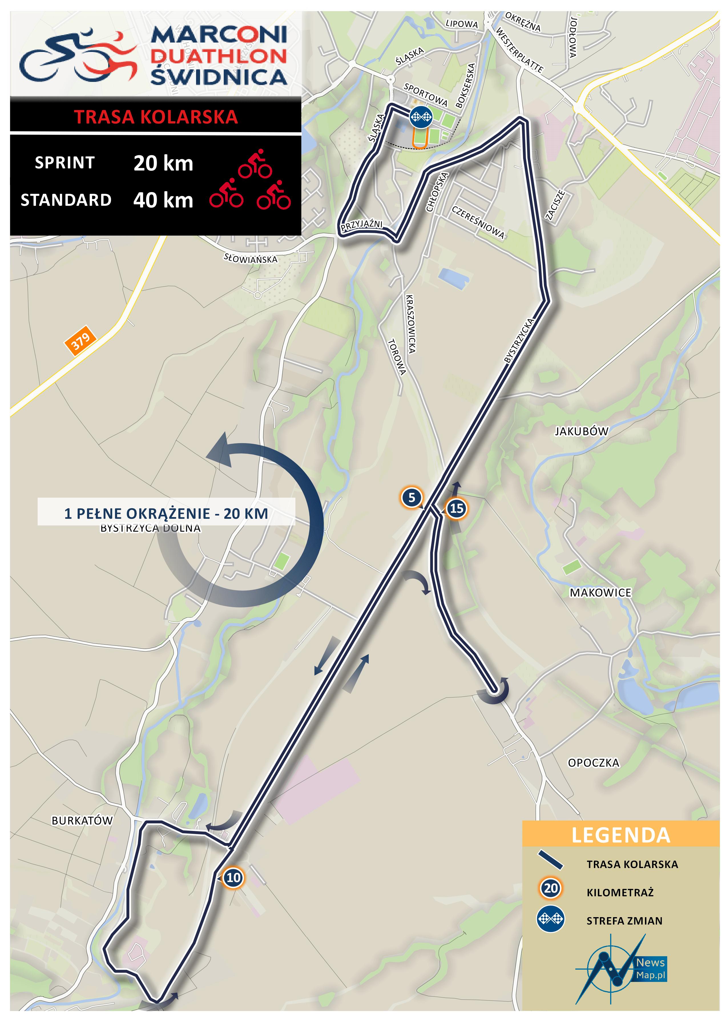 Mapa statyczna Duathlon Świdnica - rower nowa wersja
