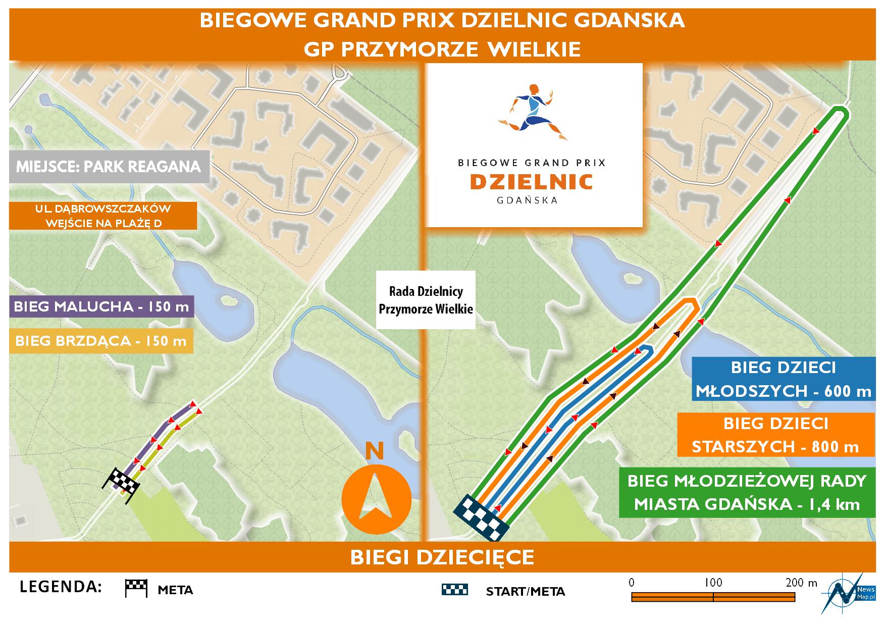 Mapa statyczna GP Przymorze Wielkie - biegi dziecięce (on-line)