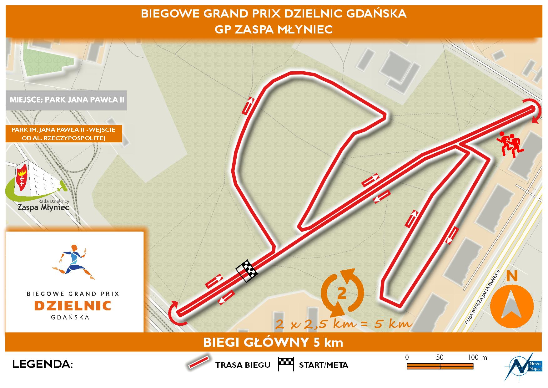 Mapa statyczna GP Zaspa Młyniec - bieg główny (on-line)