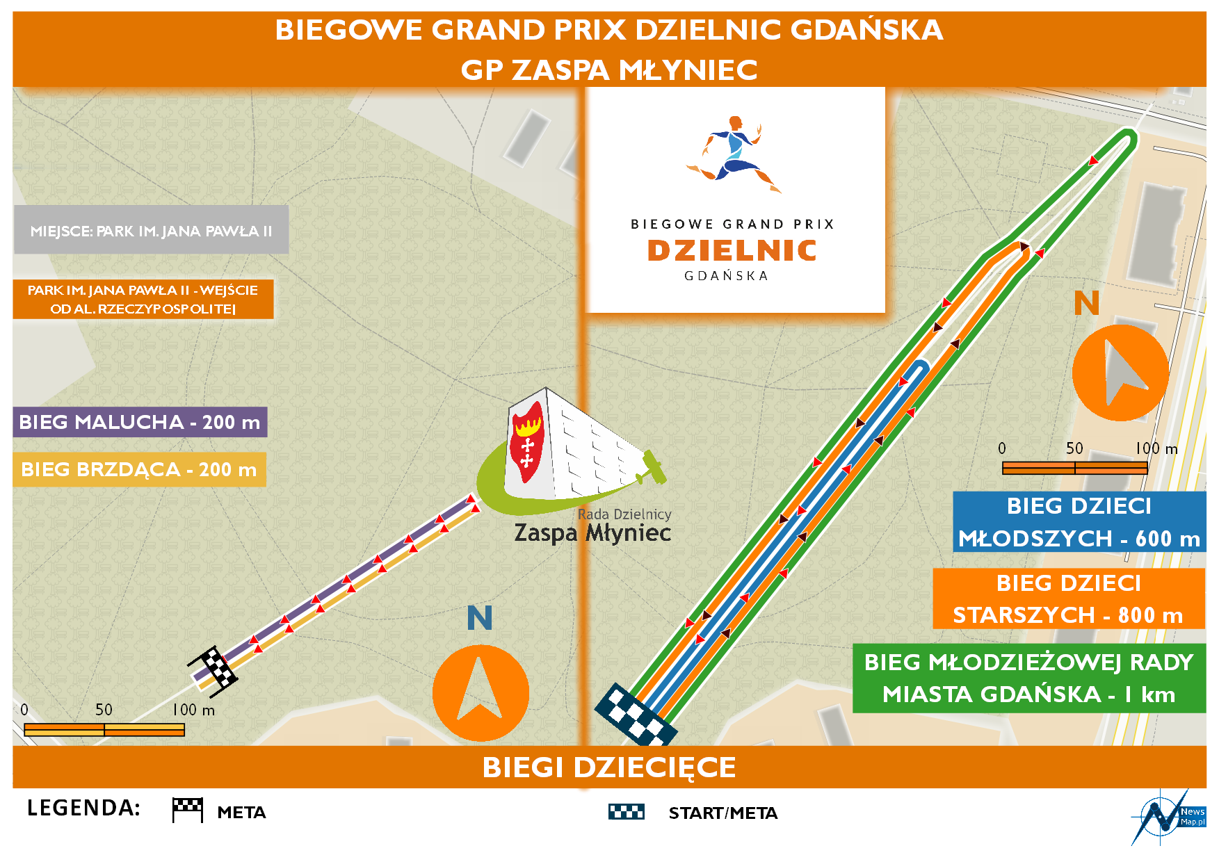 Mapa statyczna GP Zaspa Młyniec - biegi dziecięce (on-line)