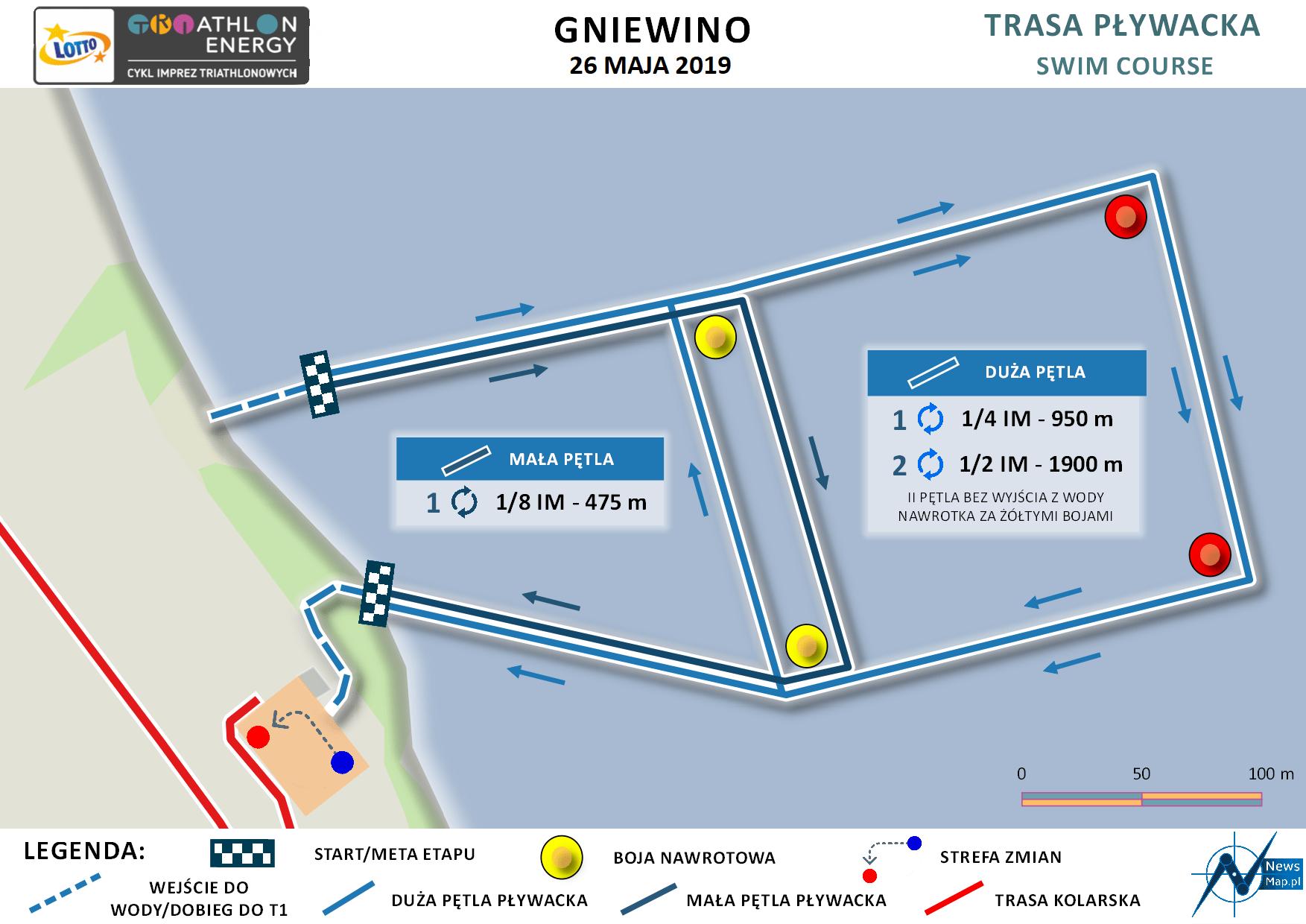 Mapa statyczna Gniewino Triathlon 2019 - pływanie (on-line)