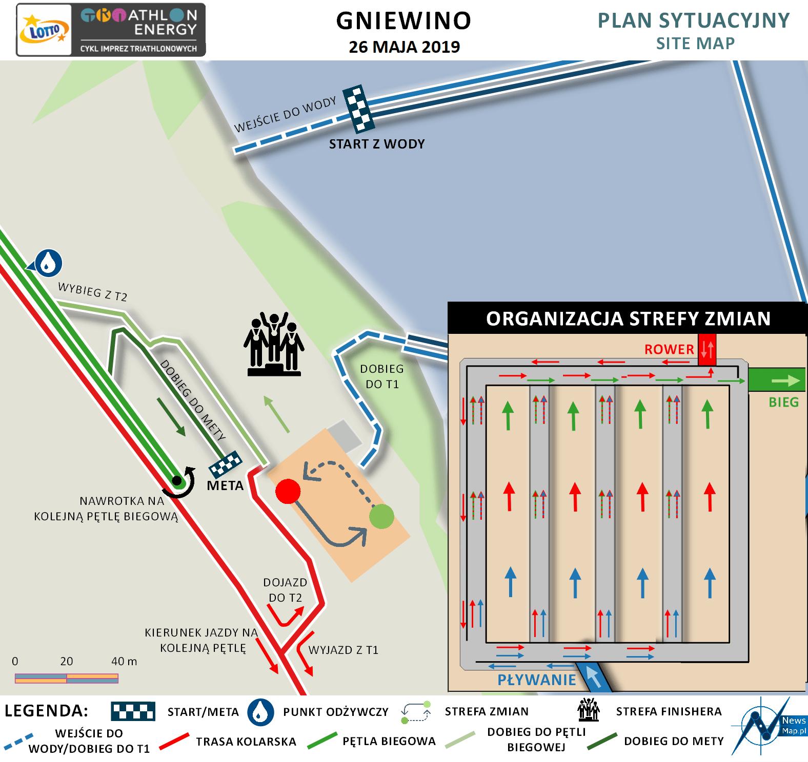 Mapa statyczna Gniewino Triathlon 2019 - plan sytuacyjny (on-line)