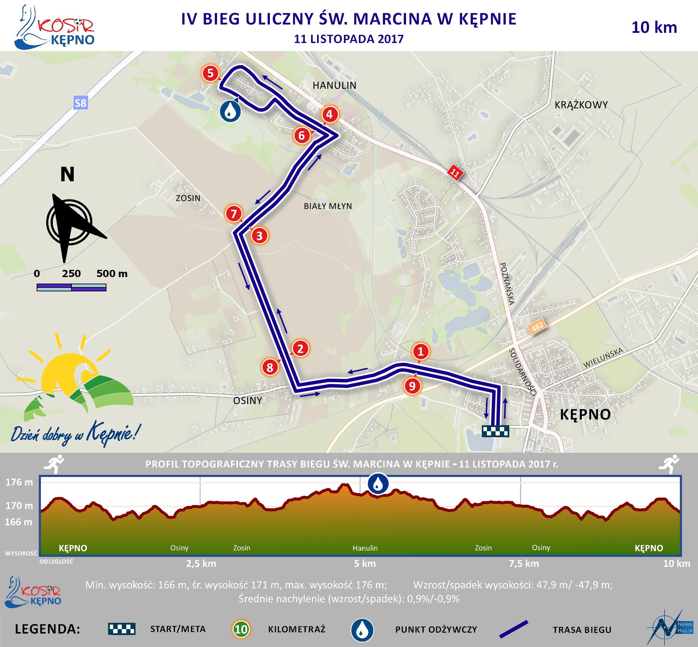 Mapa statyczna - IV Bieg św. Marcina + profil (on-line)