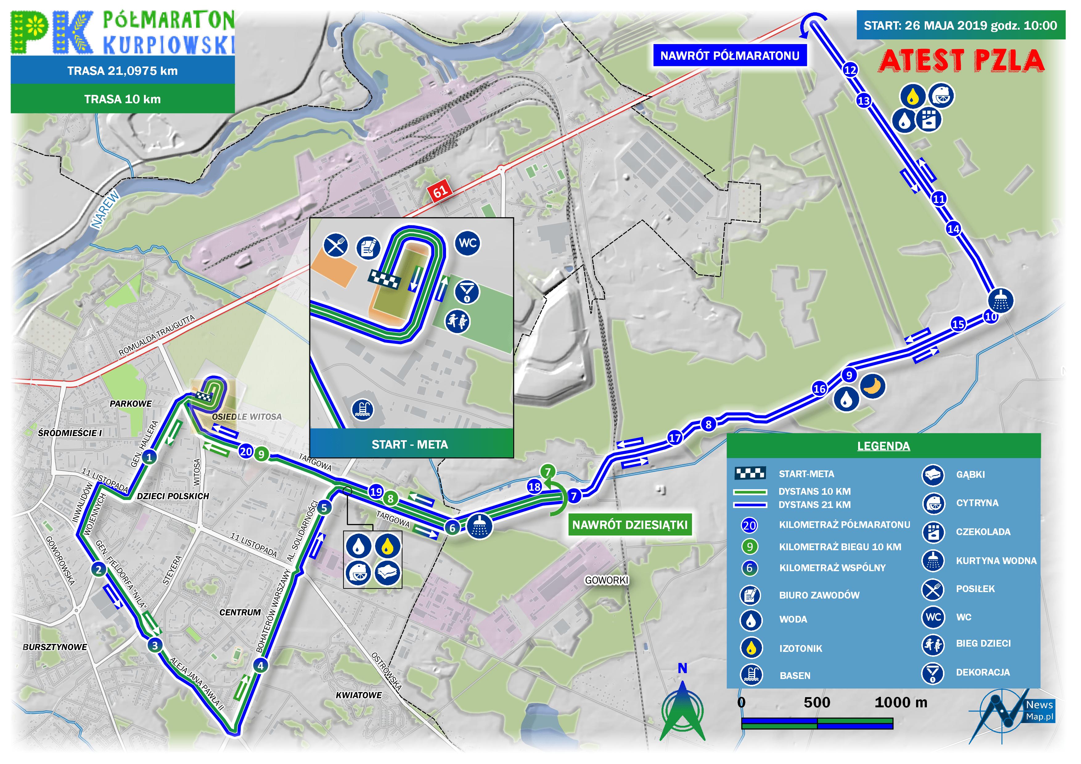 Mapa statyczna Półmaraton Kurpiowski 2019