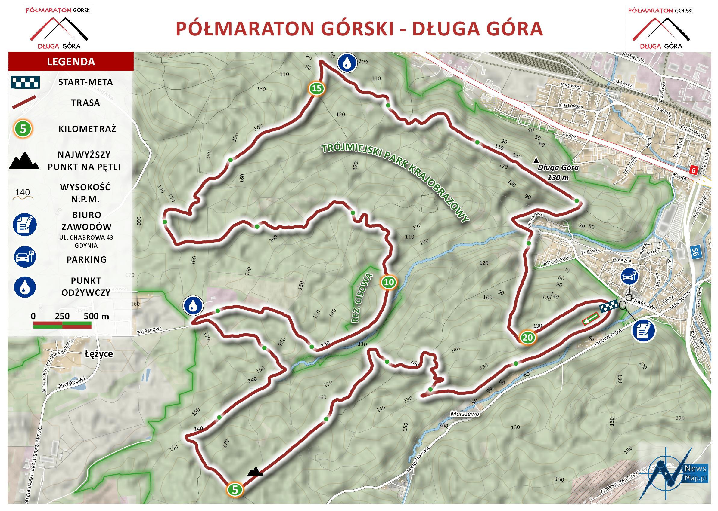 Mapa statyczna Półmaratonu Górskiego - Długa Góra (on-line)