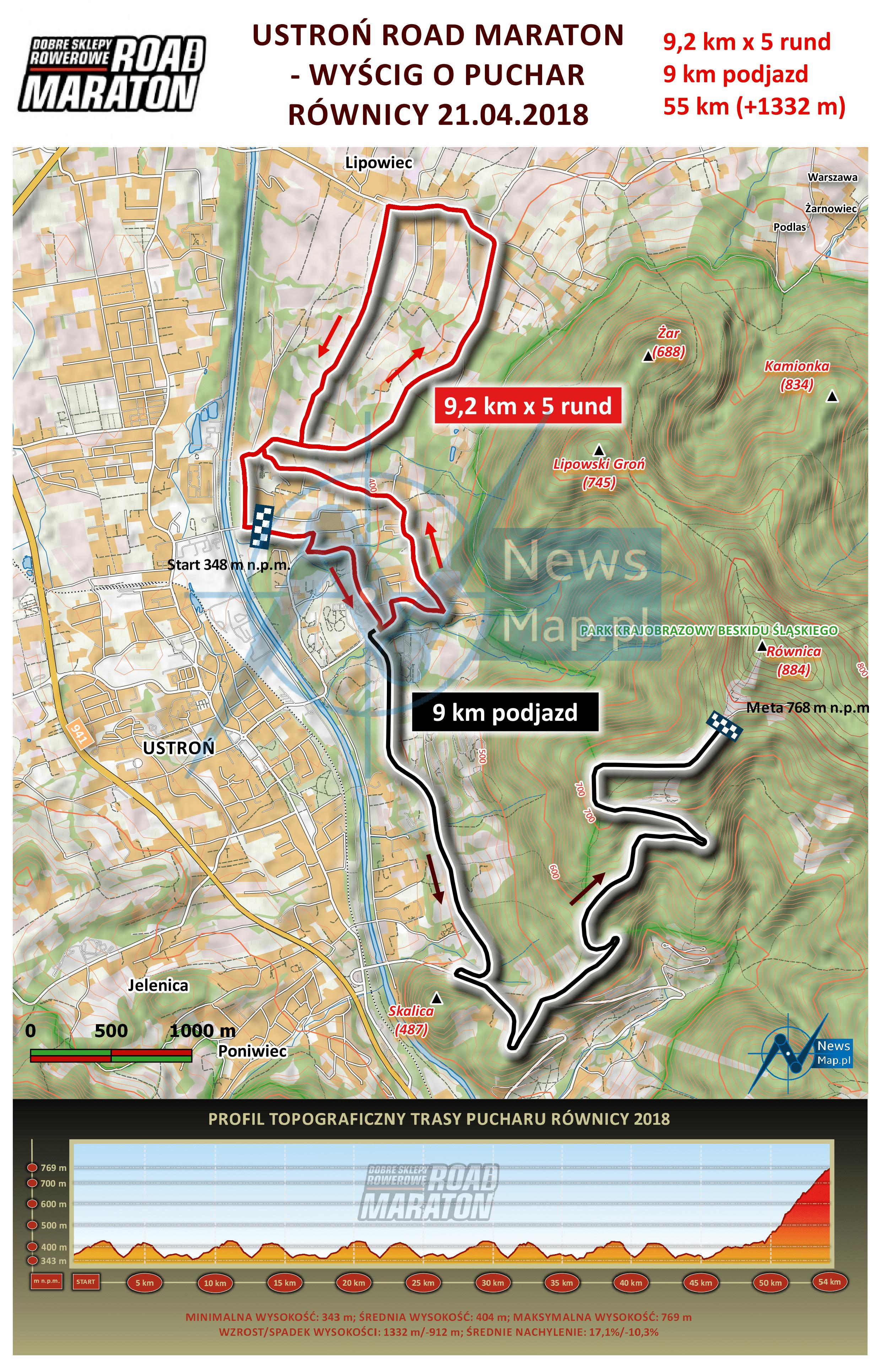 Mapa statyczna Road Maraton Ustroń 2018 + profil (on-line)