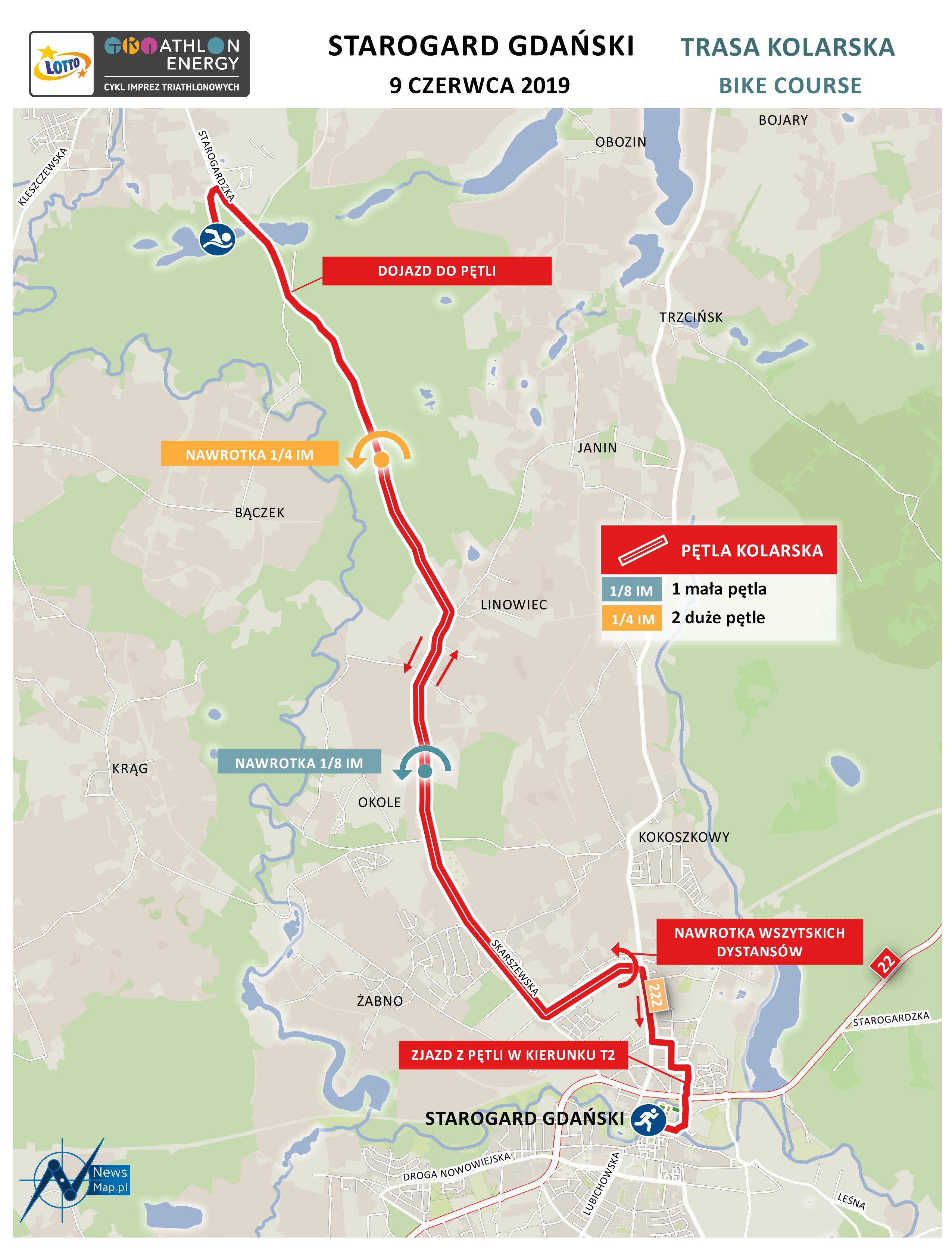 Mapa statyczna Starogard 2019 - kolarstwo