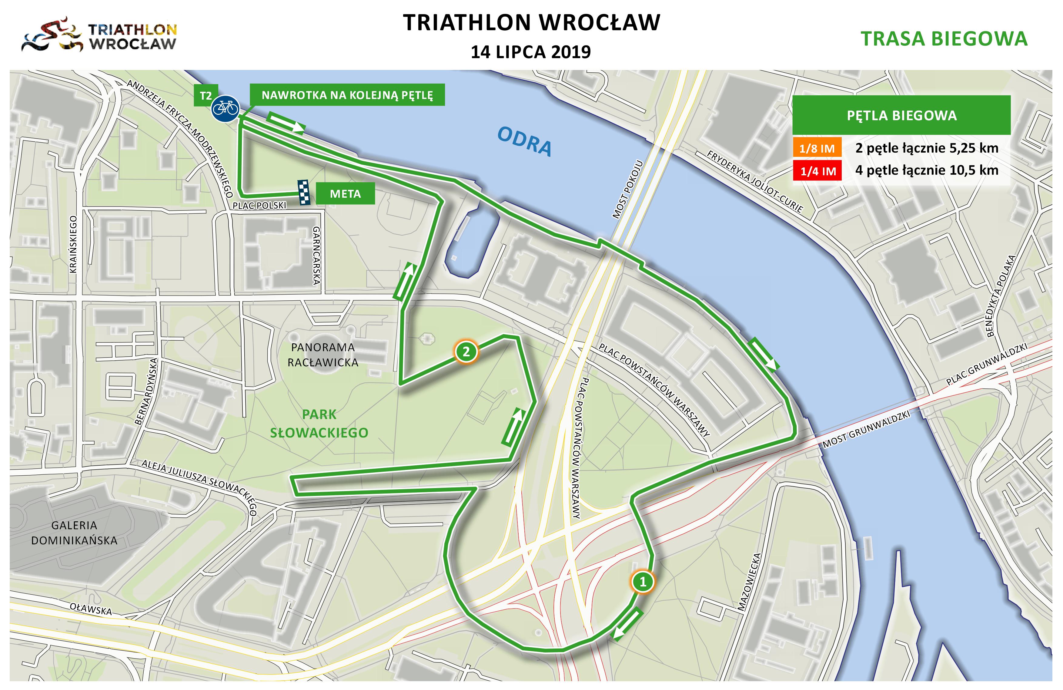 Mapa statyczna Triathlon Wrocław 2019 - bieg