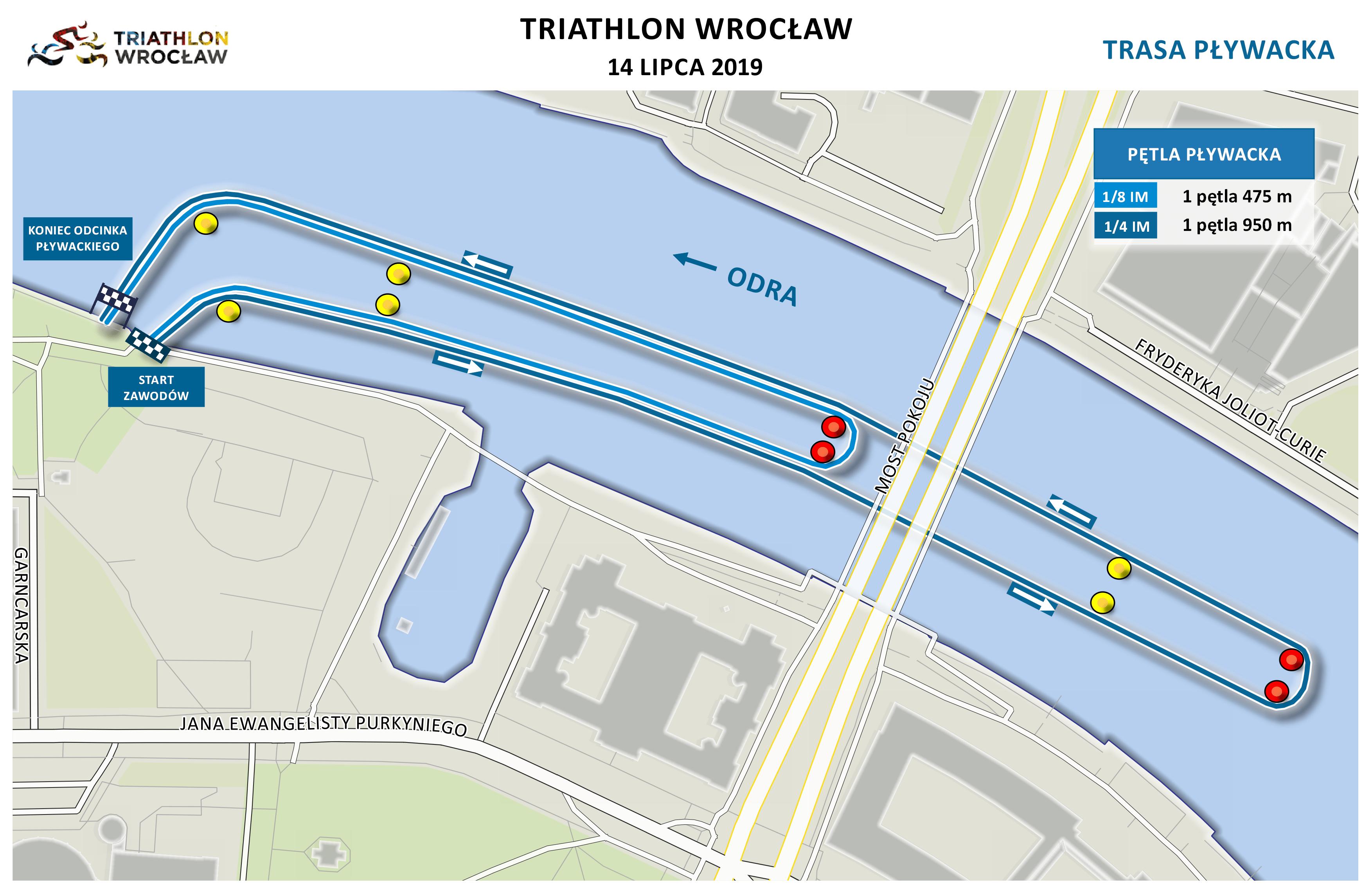 Mapa statyczna Triathlon Wrocław 2019 - pływanie