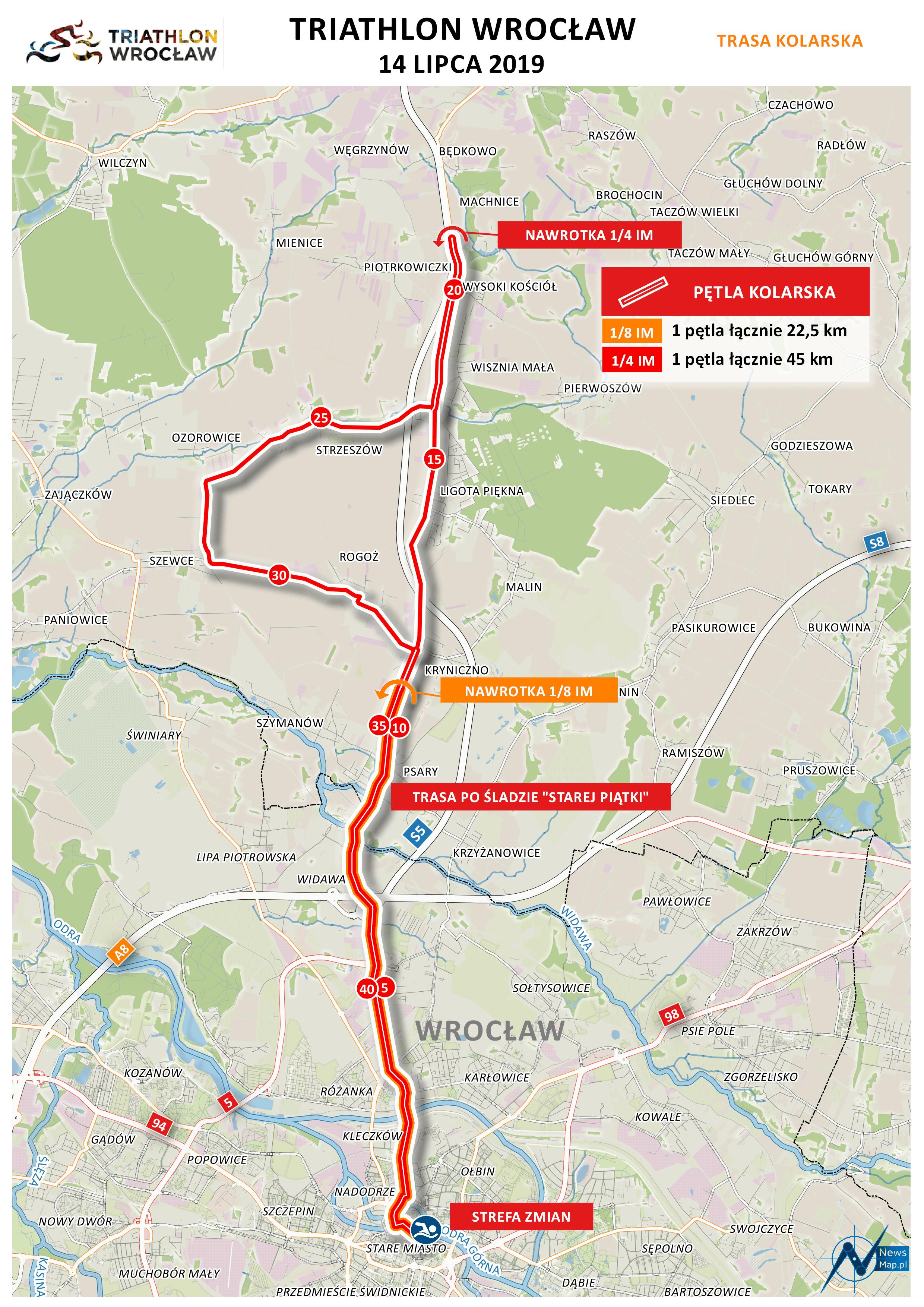 Mapa statyczna Triathlon Wrocław 2019 - rower