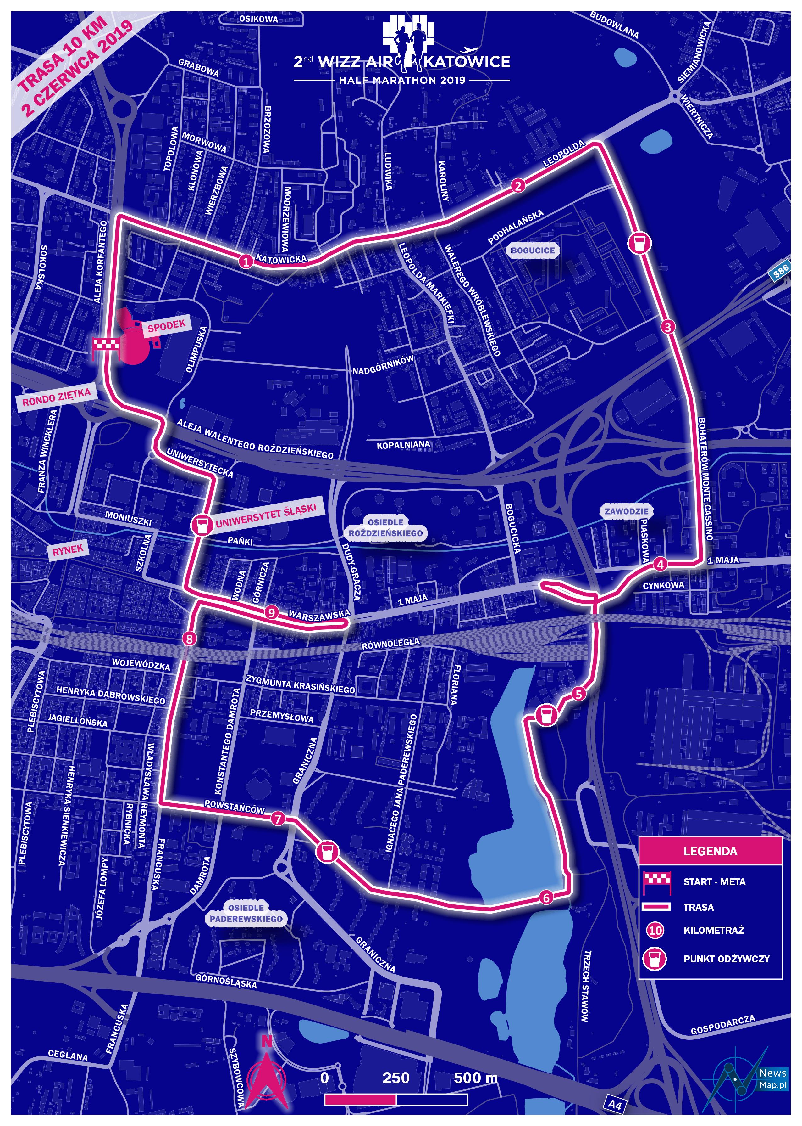 Mapa statyczna WizzAir 10 km 2019 (on-line)