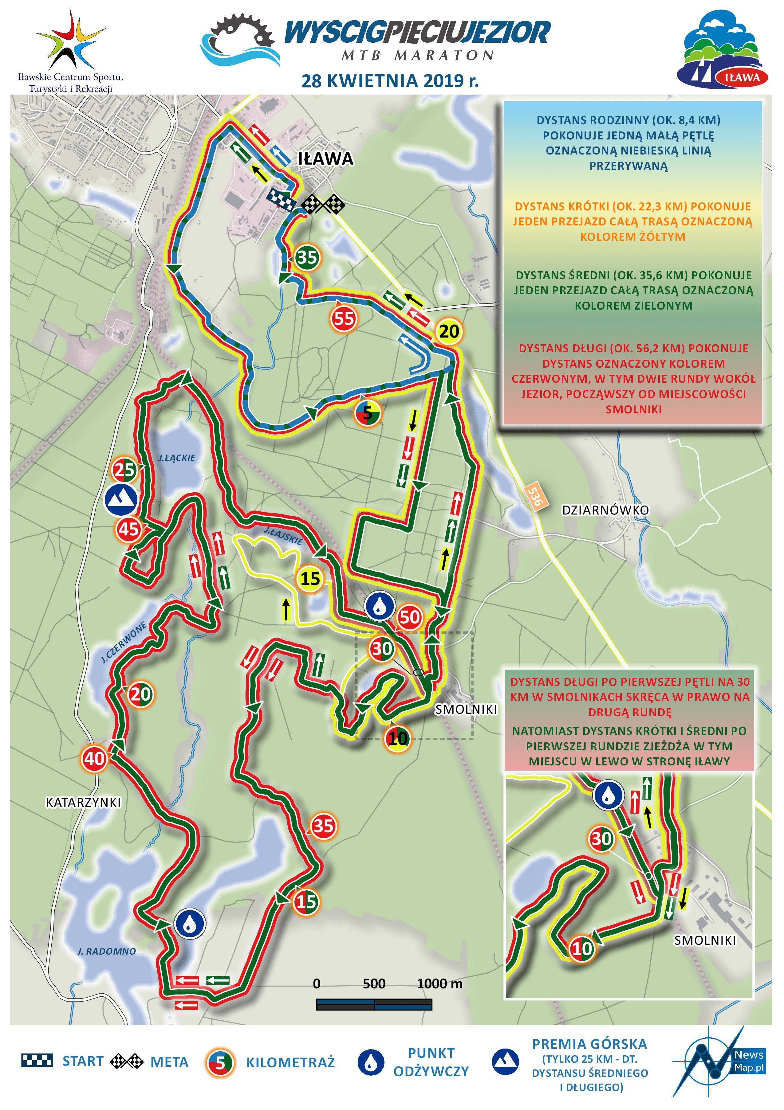 Mapa statyczna Wyścigu Pięciu Jezior MTB 2019 (on-line)