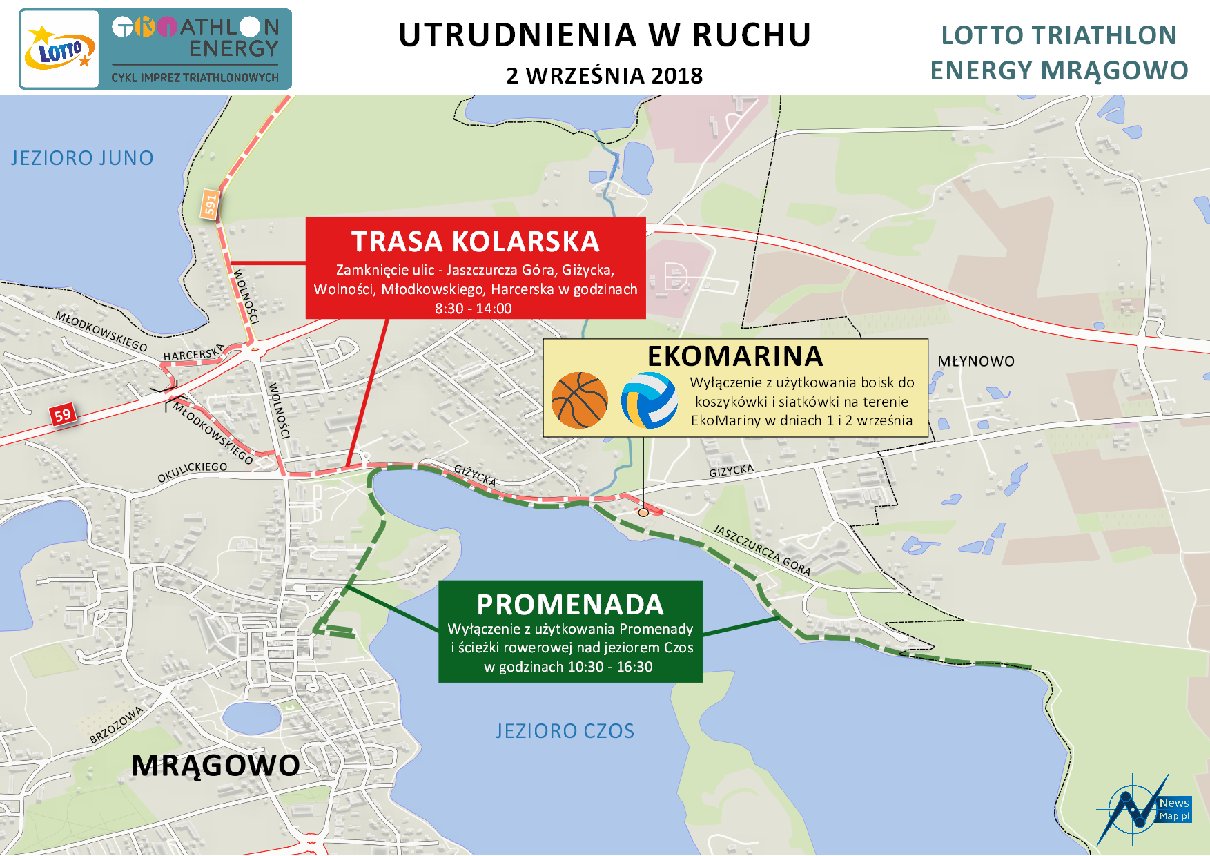 Mapa statyczna utrudnień Mrągowo 2018 (on-line)