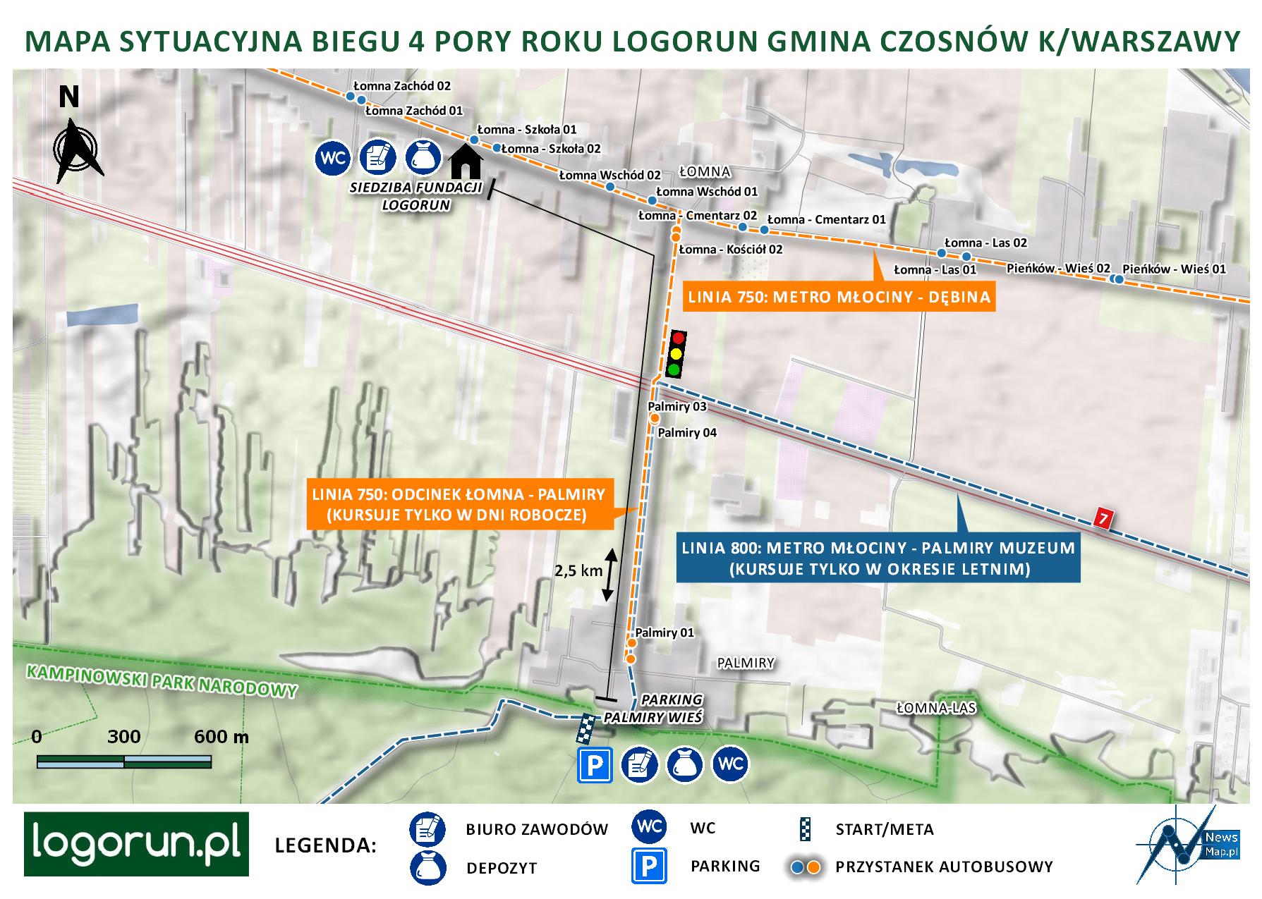 Mapa sytuacyjna LogoRun Palmiry (on-line)