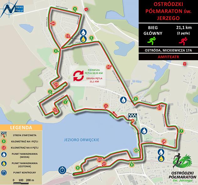 Półmaraton Ostródzki - mapa
