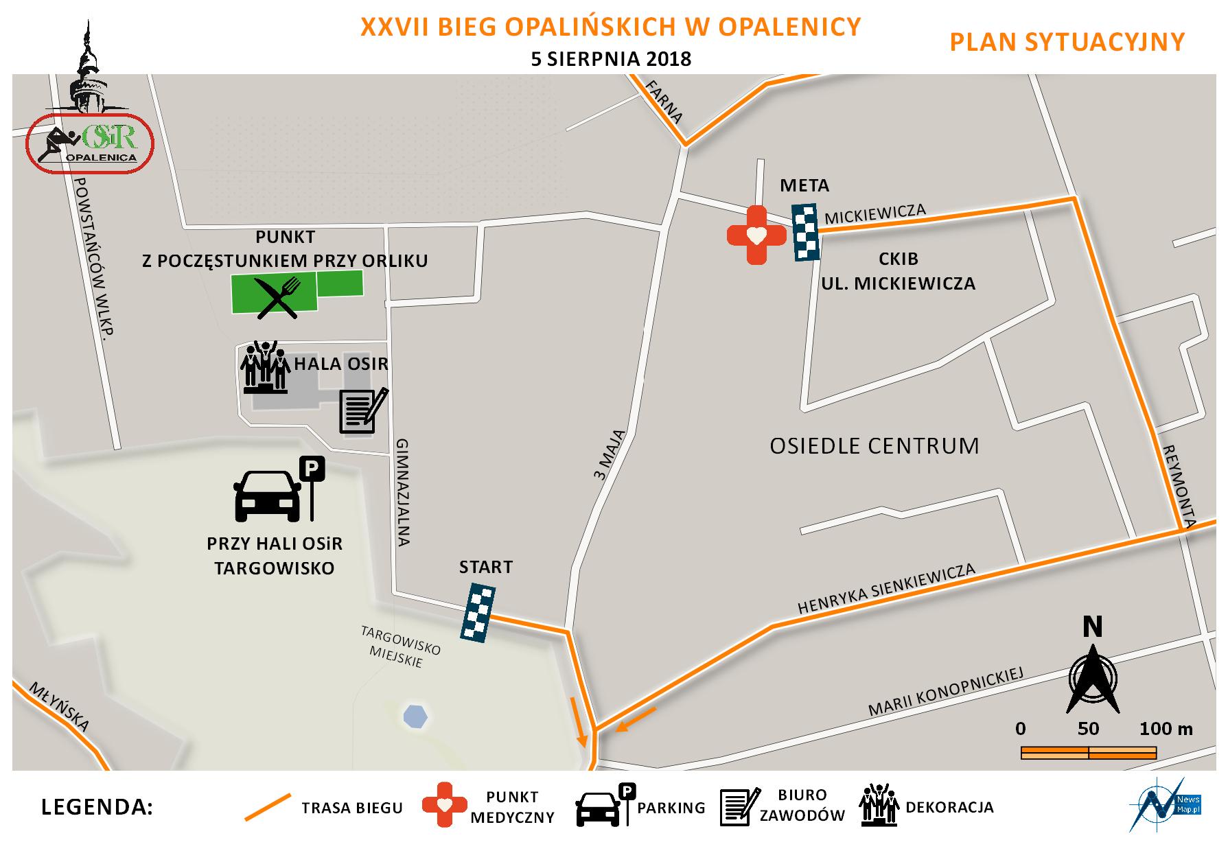 Plan sytuacyjny Bieg Opalińskich 2018 (on-line)