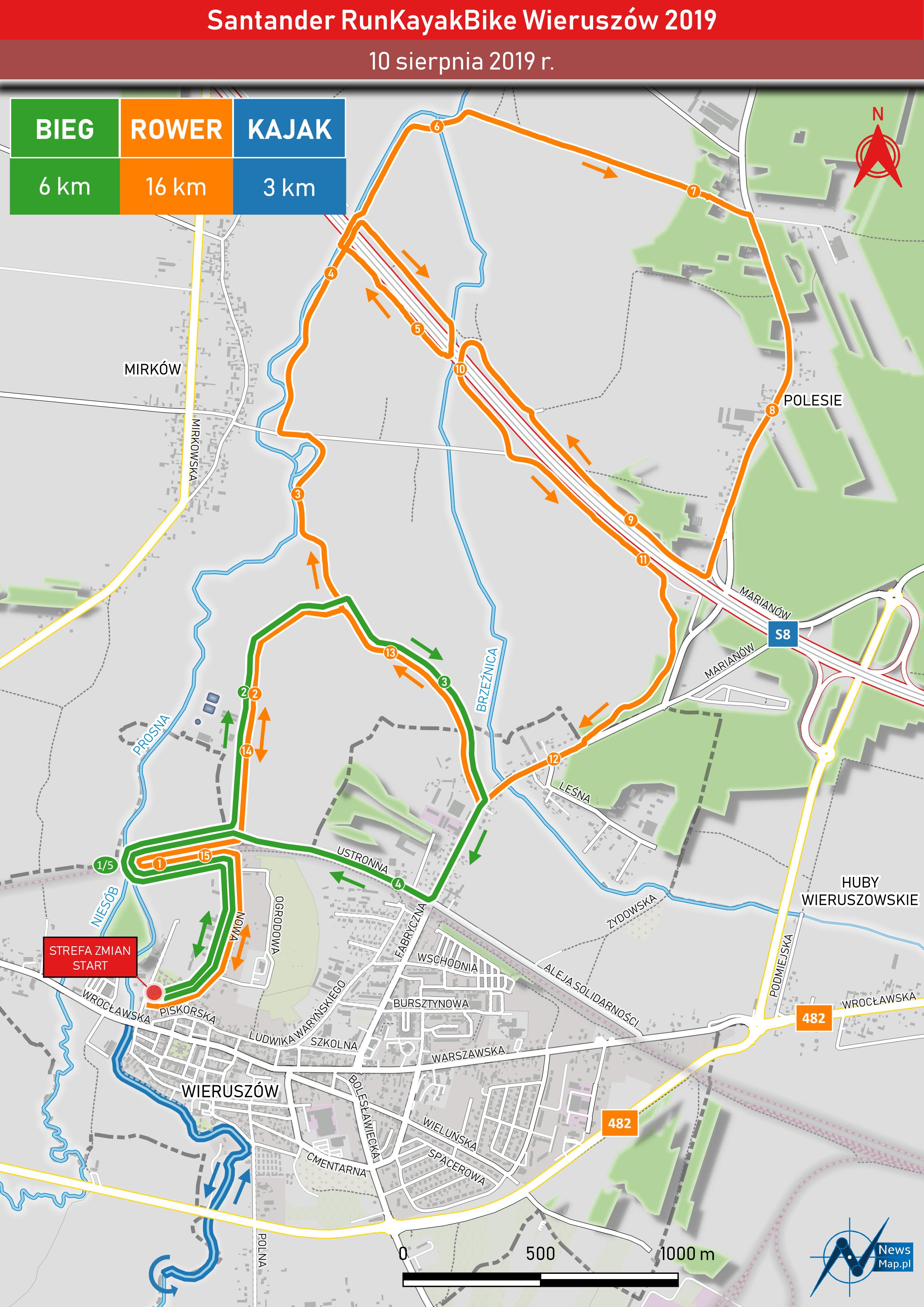 Santander RunKayakBike Wieruszów 2019 - mapa statyczna (on-line)