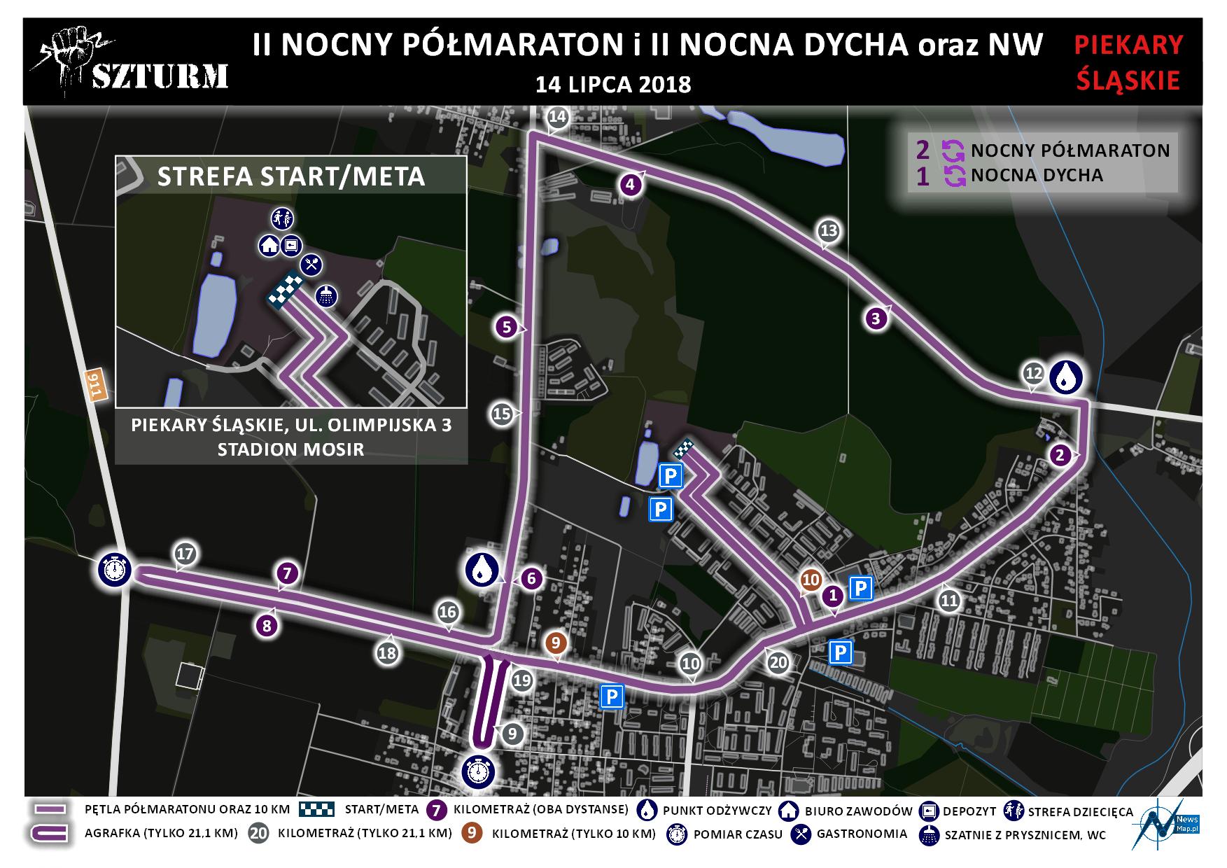 Trasa Półmaraton Piekary Śląskie 2018 (on-line)