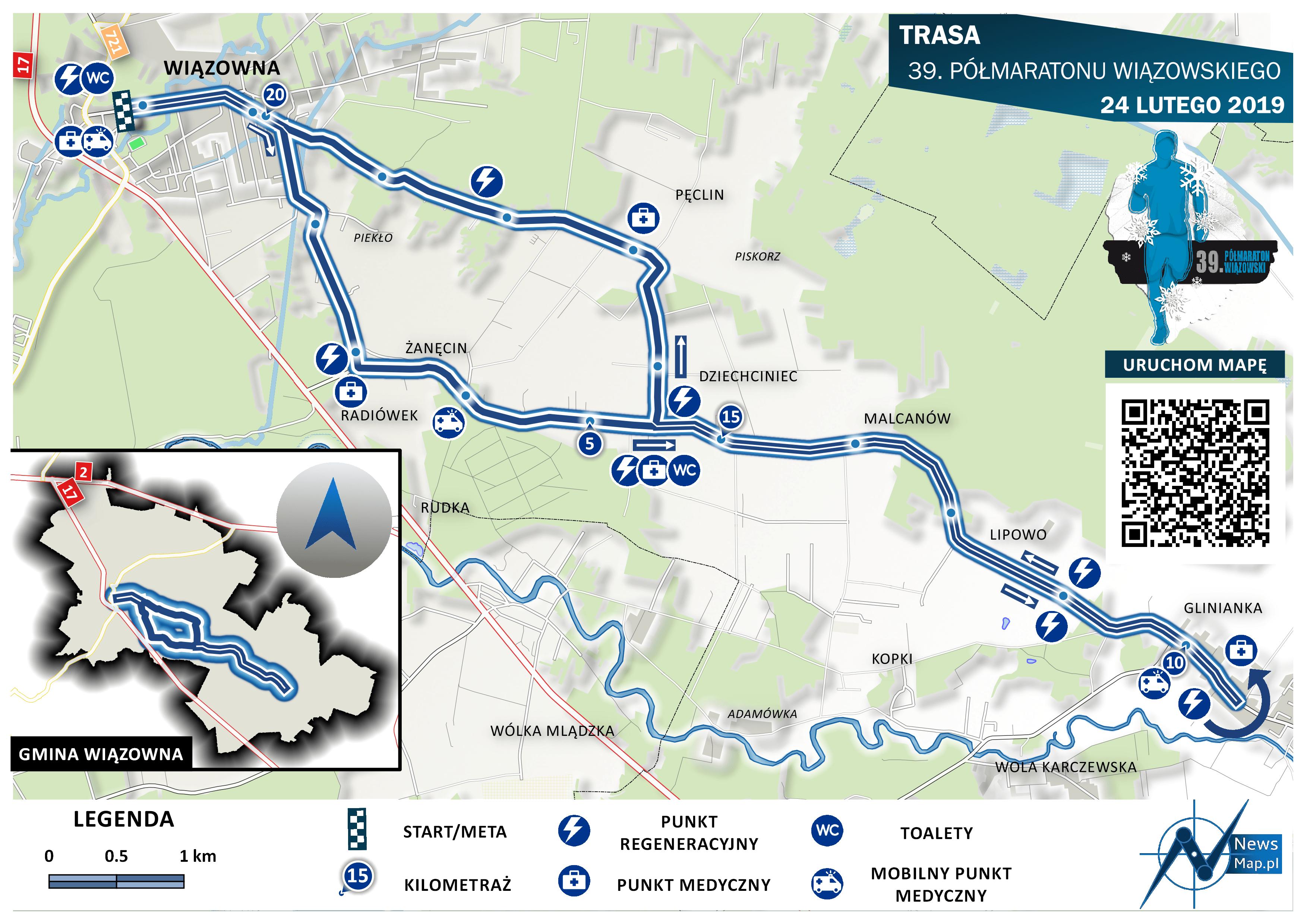 Trasa Półmaratonu Wiązowna 2019 (on-line)