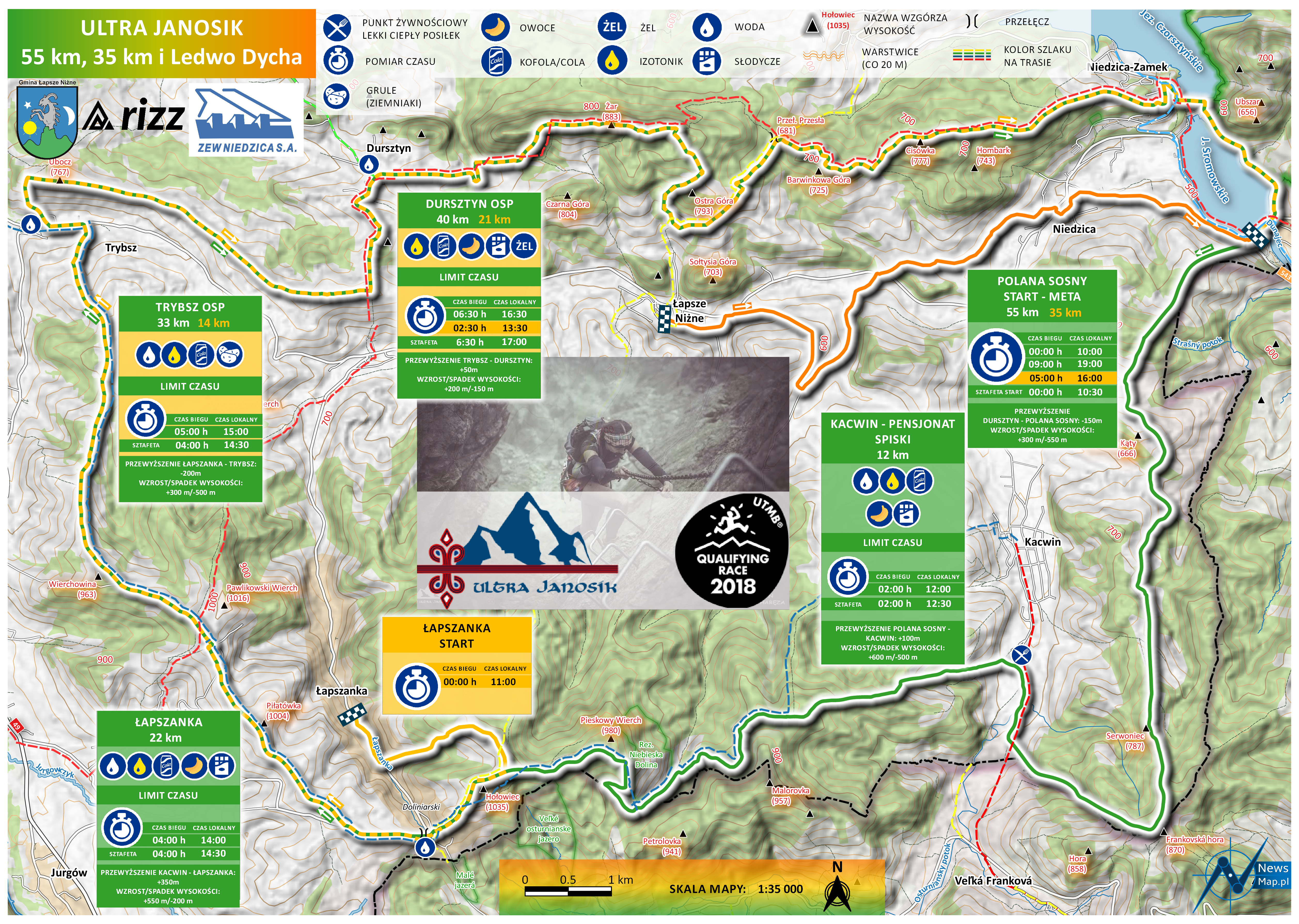 Ultra Janosik 55, 35 km i Ledwo Dycha (mapa statyczna on-line)