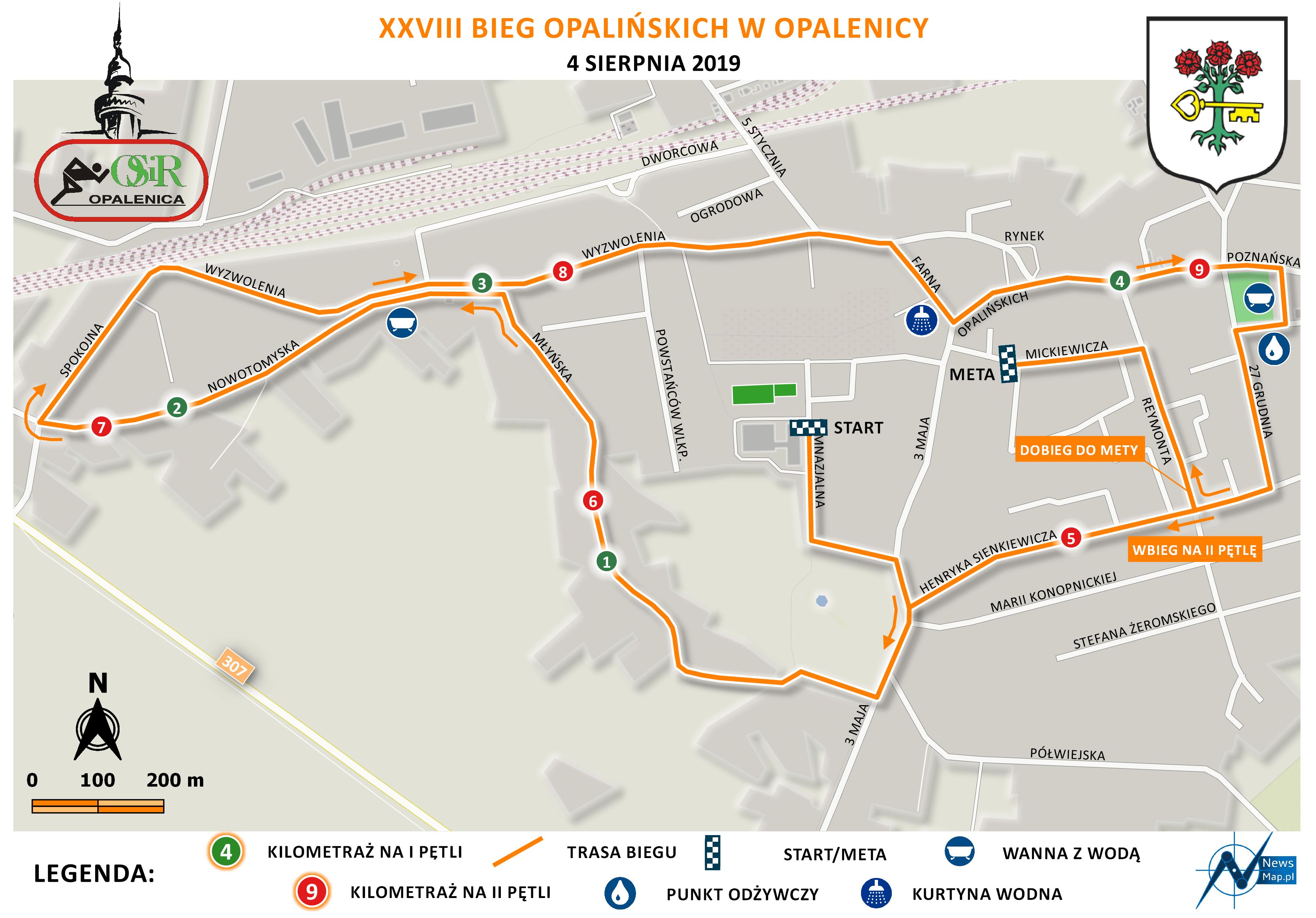 Mapa statyczna Bieg Opalińskich 2019