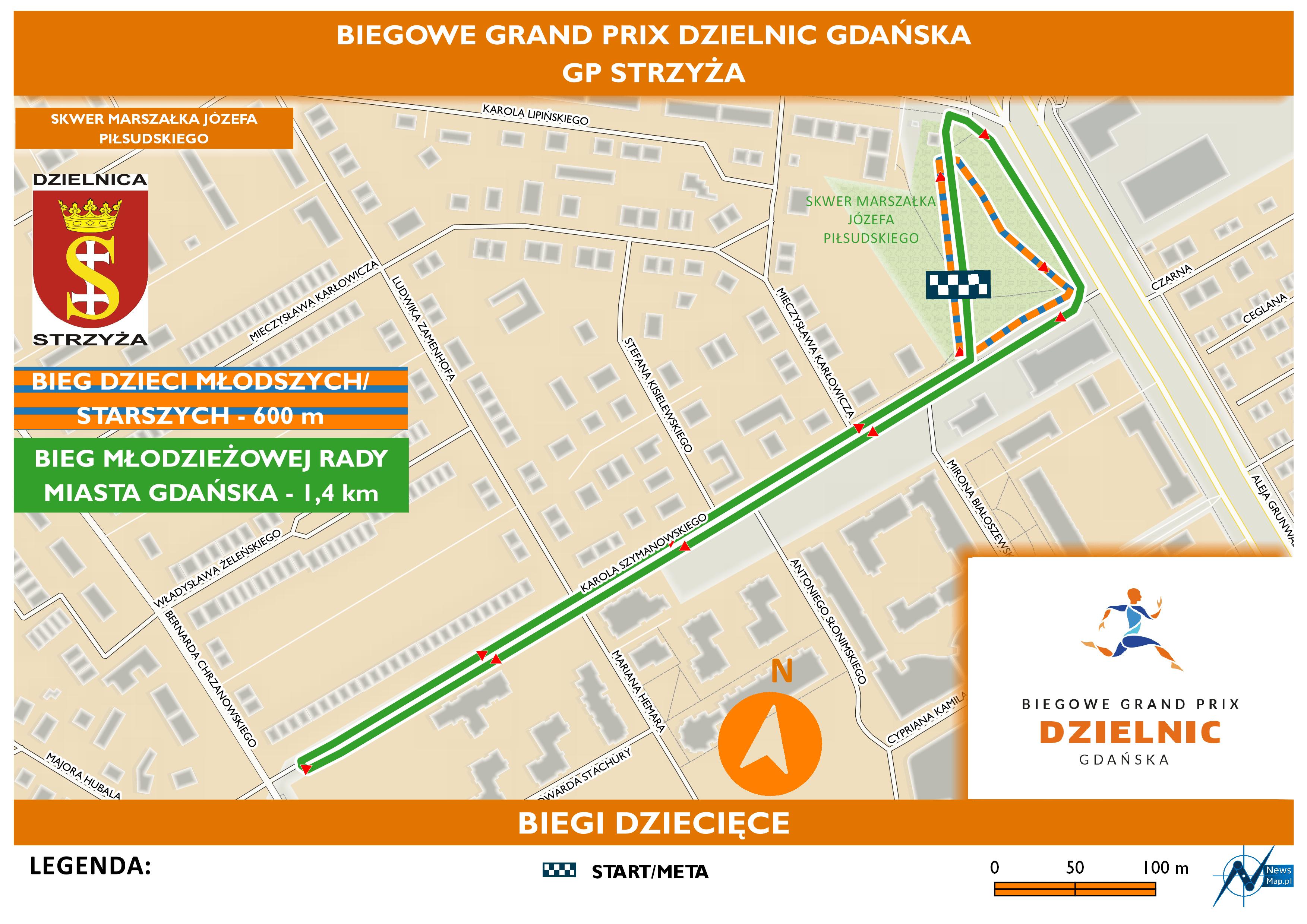 Mapa statyczna GP Strzyża - biegi dziecięce