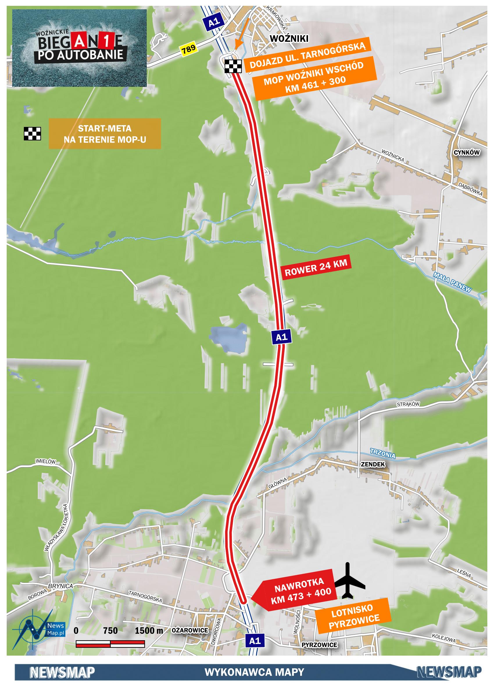 Mapa statyczna - rower 24 km (wektor)-1